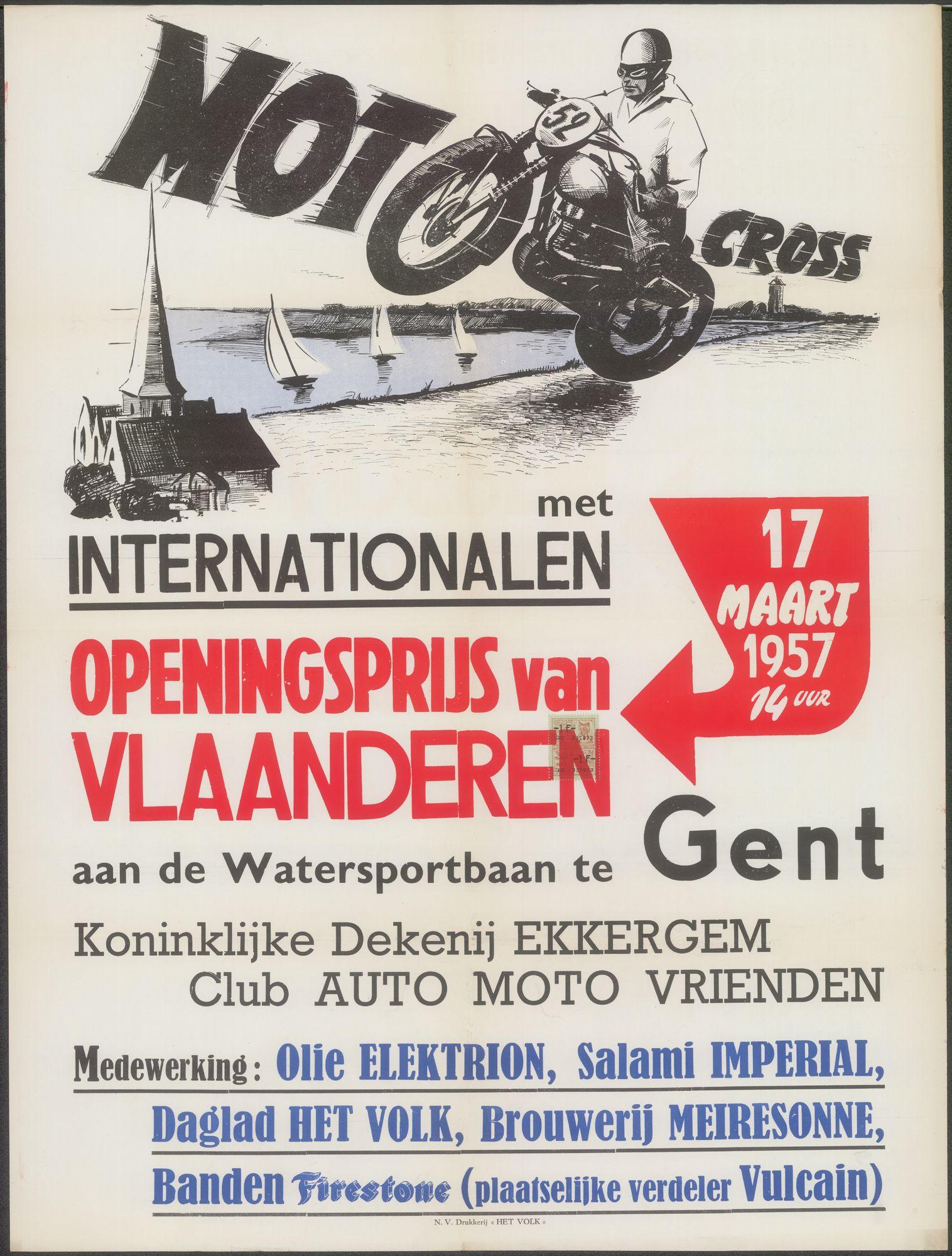Motocross met Internationalen, Openingsprijs van Vlaanderen, aan de Watersportbaan te Gent, 17 maart 1957