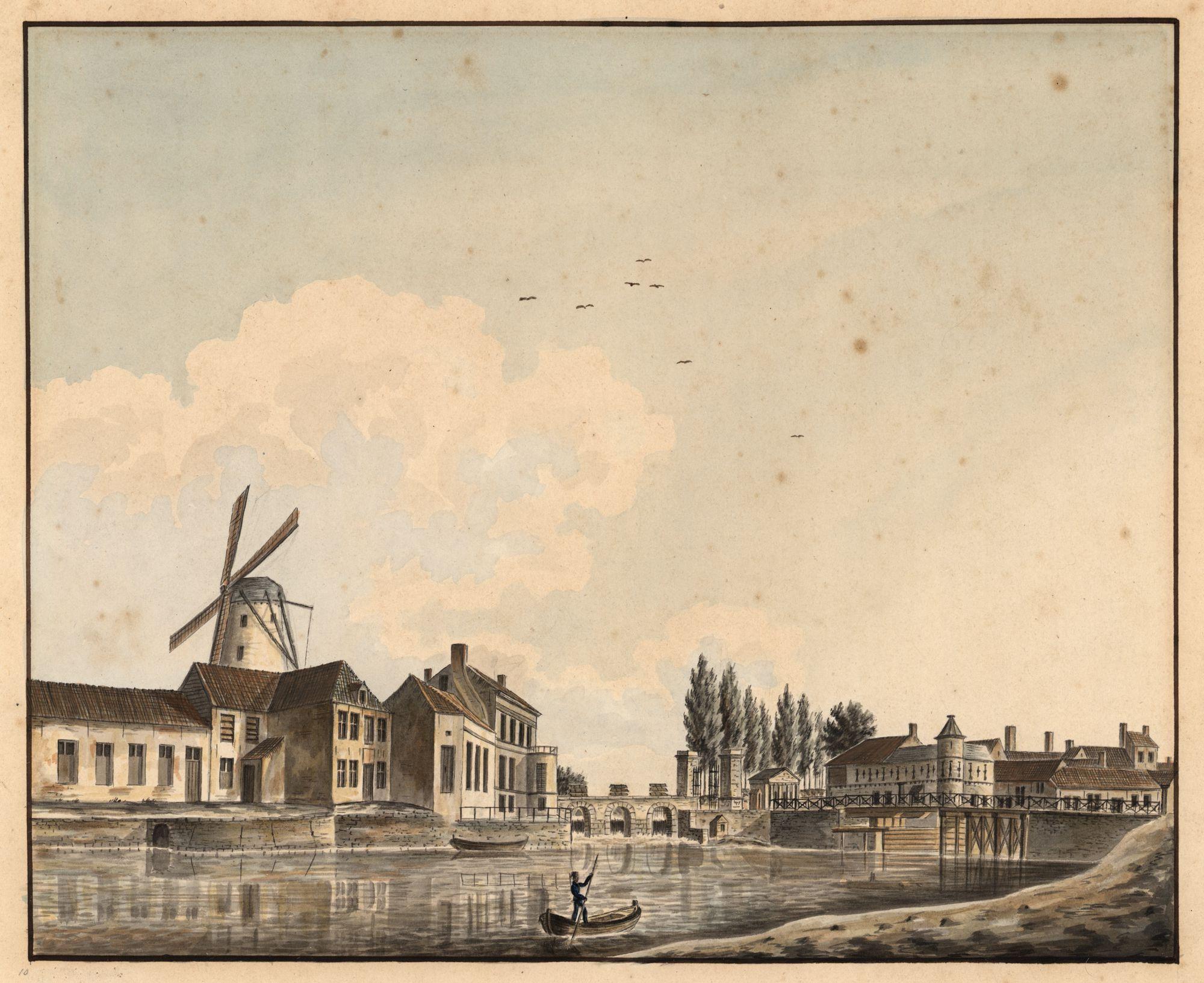 Gent: Keizerpoort of Brusselsepoort en de Willembrug over de Schelde, zicht uit het noorden