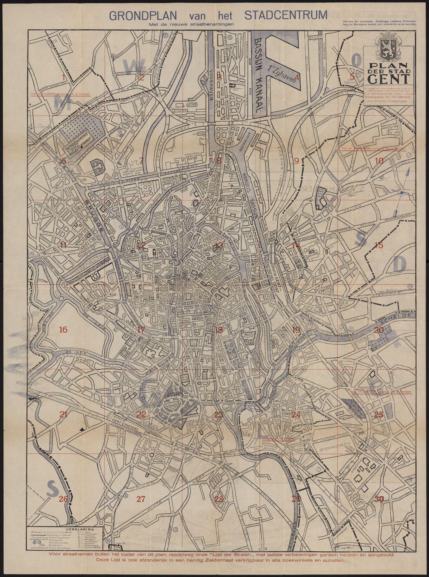 Stadsplan van Gent centrum, c.1950
