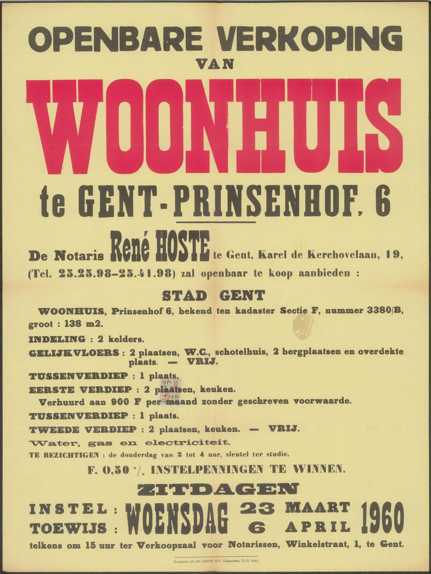 Openbare verkoop van woonhuis te Gent - Prinsenhof, nr.6, Gent, 6 april 1960