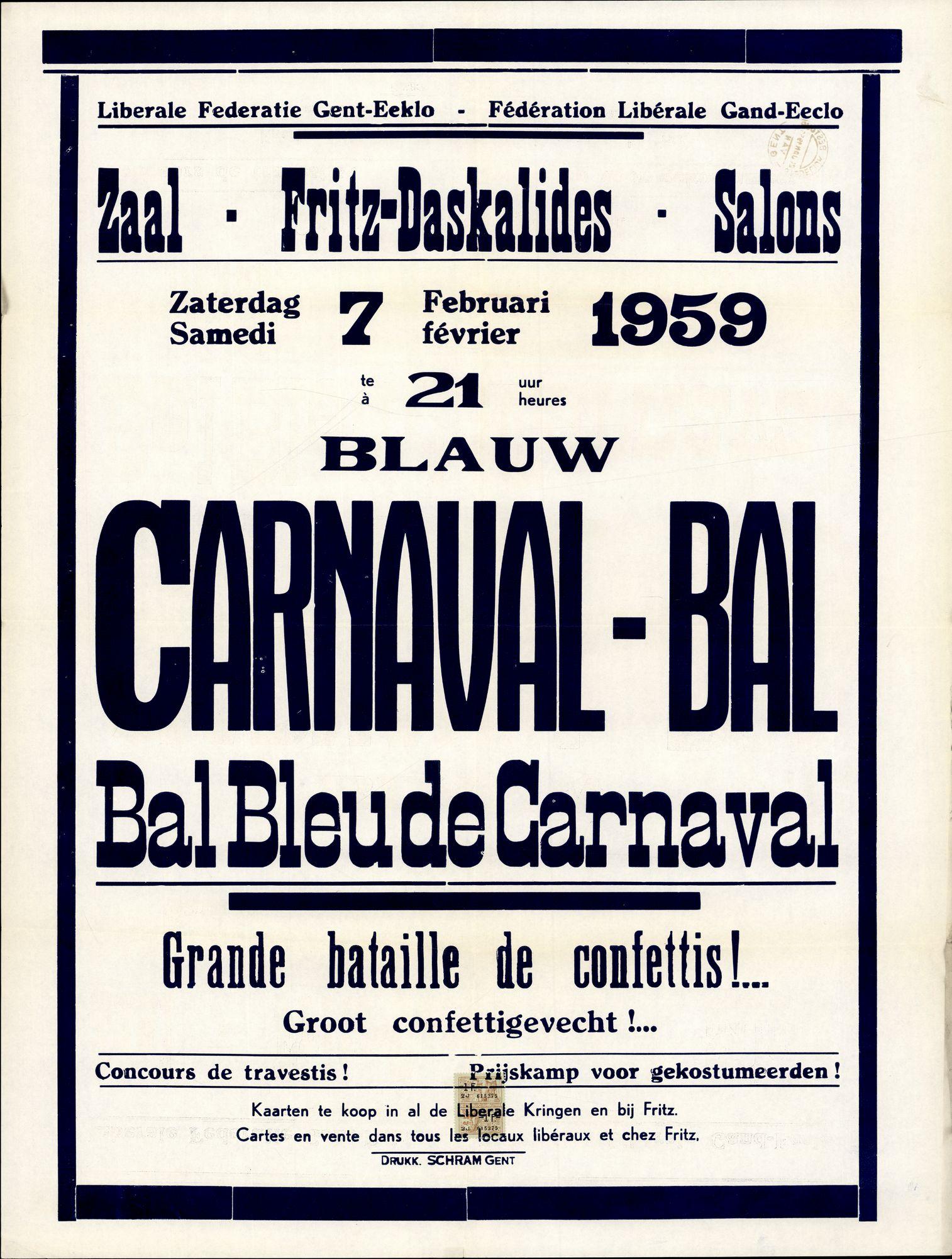 Blauw Carnaval - Bal, Bal Bleude Carnaval | Zaal - Fritz-Daskalides - Salons, zaterdag - samedi 7 februari - février 1959 te - à 21 uur / heurses