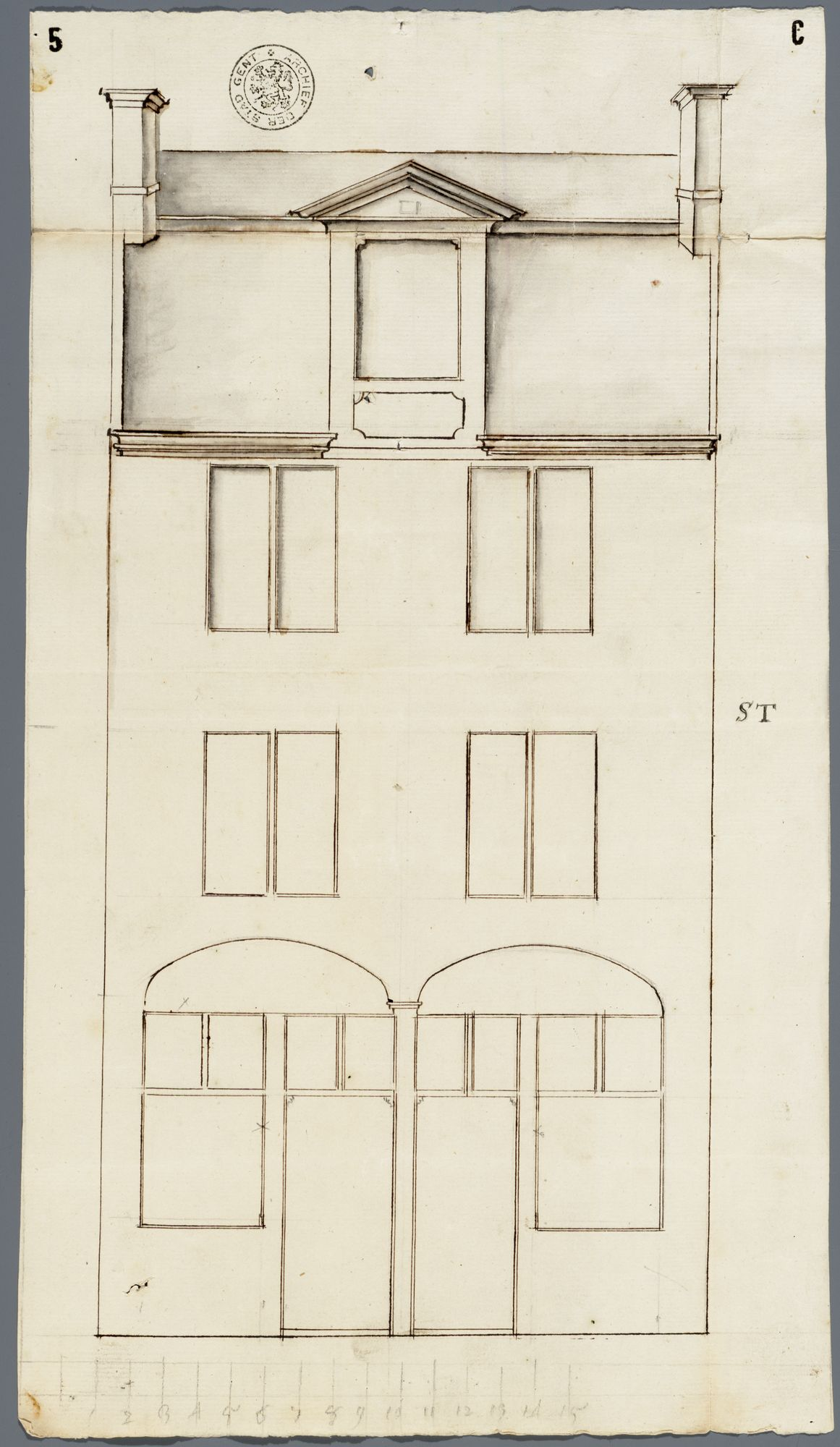 Gent: Abrahamstraat, 1741: opstand voorgevel