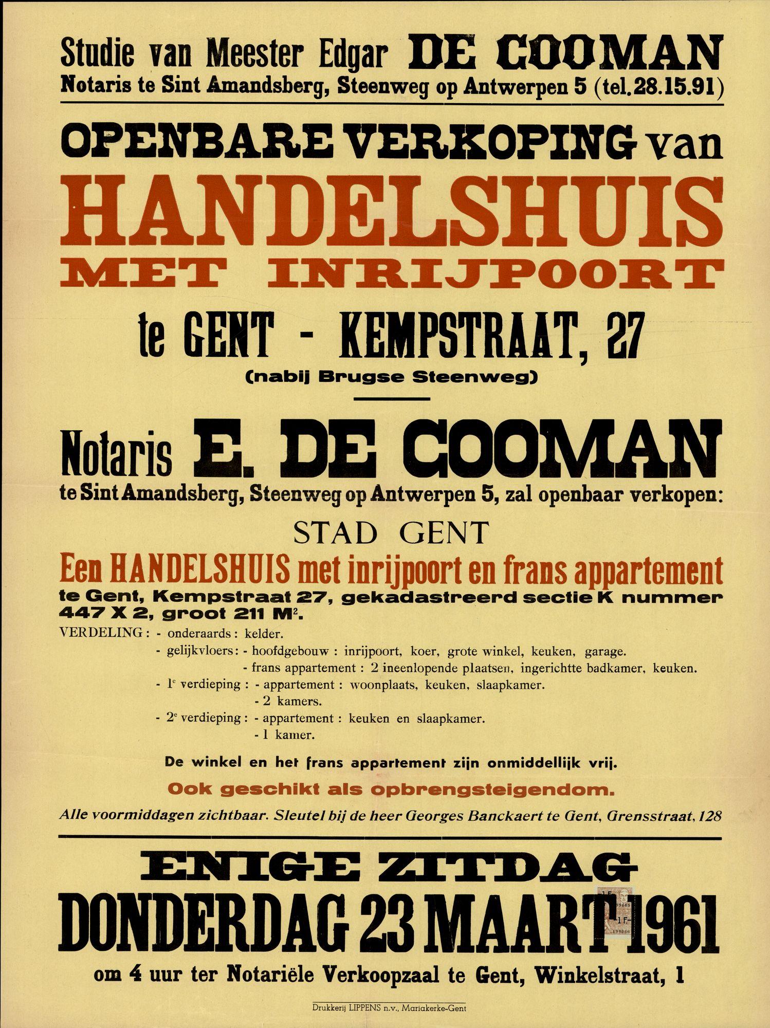 Openbare verkoop van handelshuis met inrijpoort te Gent, Kempstraat, nr.27, Gent, 23 maart 1961
