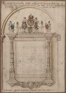 Gent: Sint-Pietersplein: epitaaf van Isabella van Oostenrijk (1501-1526) in de monnikenkerk van de Sint-Pietersabdij, voor 1580