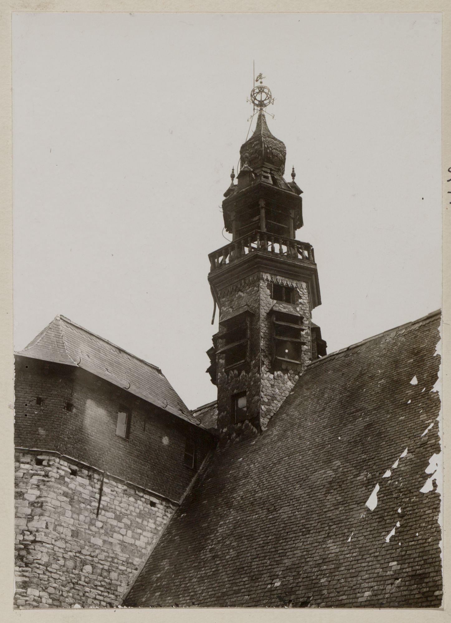 Gent: Baudeloabdij (Stads- en Universiteitsbibliotheek): dakruiter (torentje) op de kerk, zonder de beiaard, mei 1931