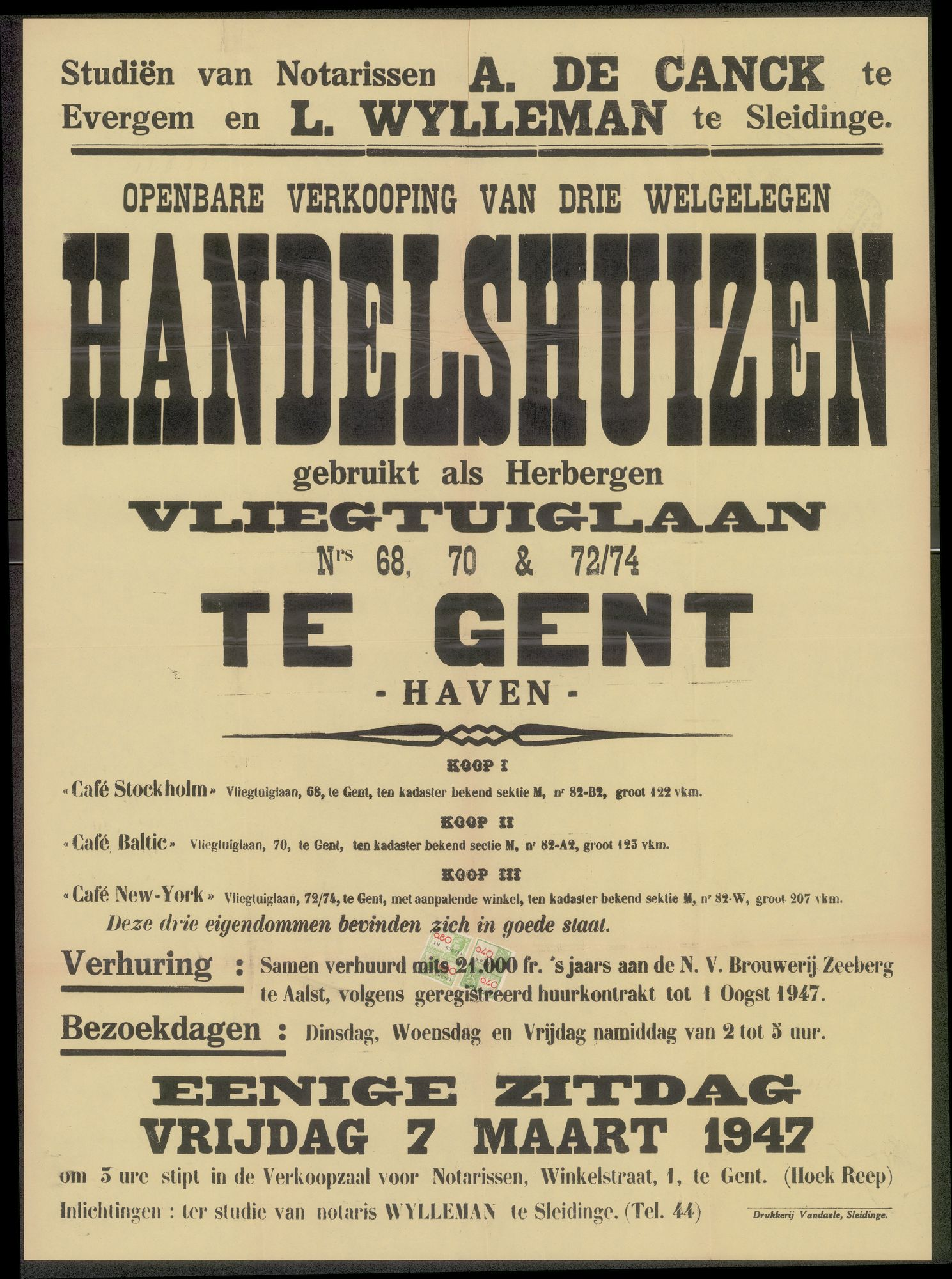 Openbare verkoop van drie welgelegen handelshuizen gebruikt als herbergen, Vliegtuiglaan, nrs. 68, 70 & 72/74 te Gent-Haven, Gent,  7 maart 1974