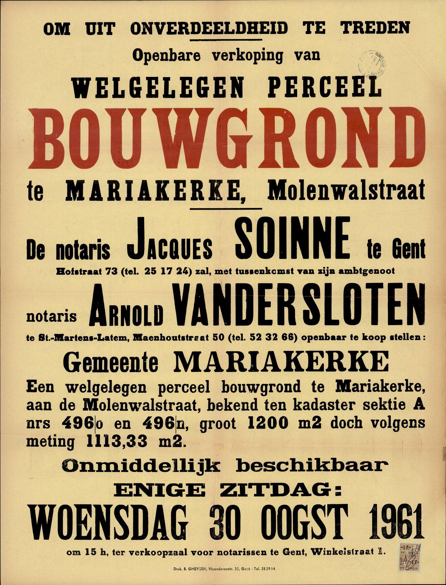 Openbare verkoop van welgelegen perceel bouwgrond te Mariakerke, Molenwalstraat, Gent, 30 augustus 1961