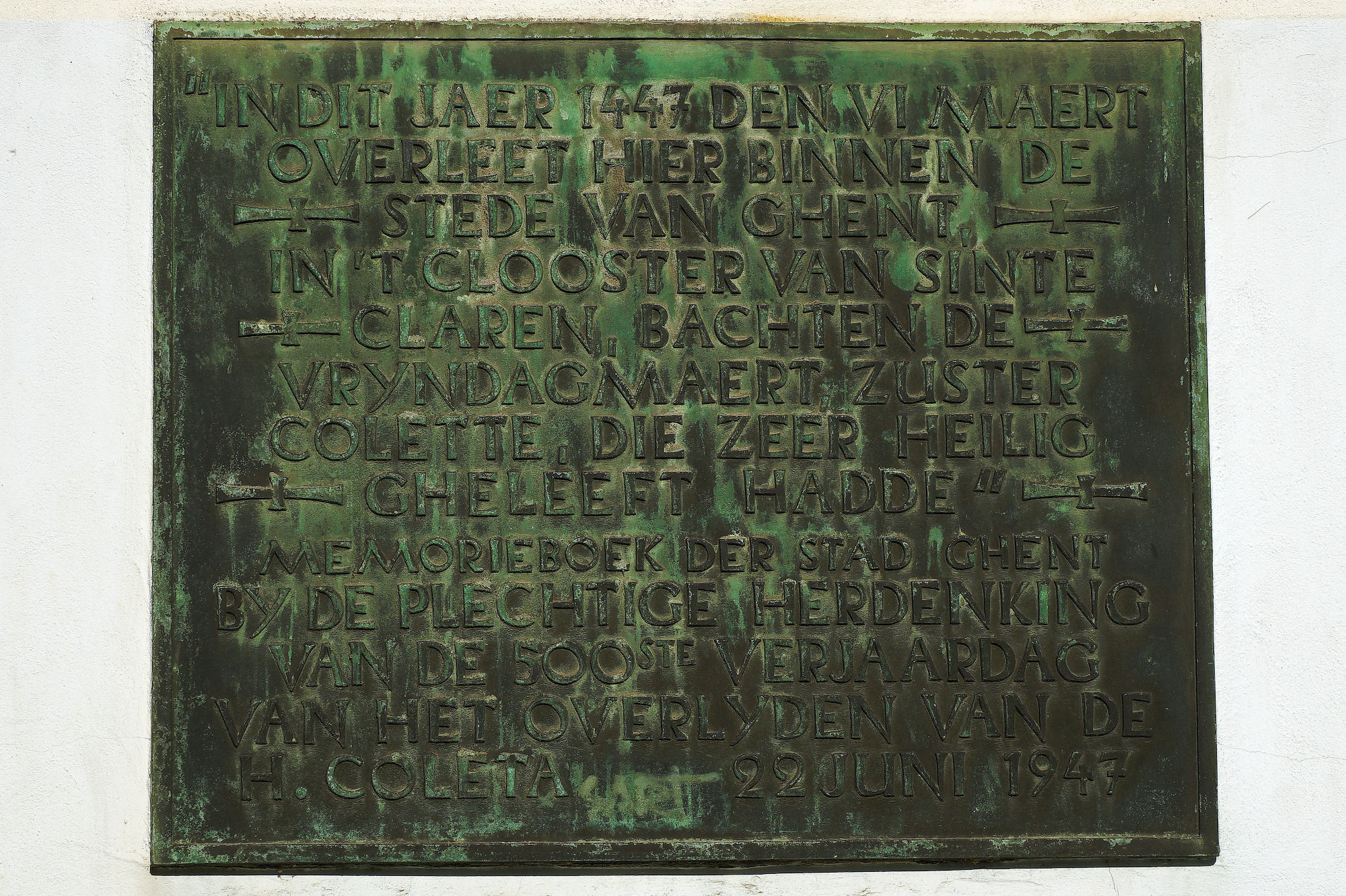 Gedenkplaat - Sint-Coleta