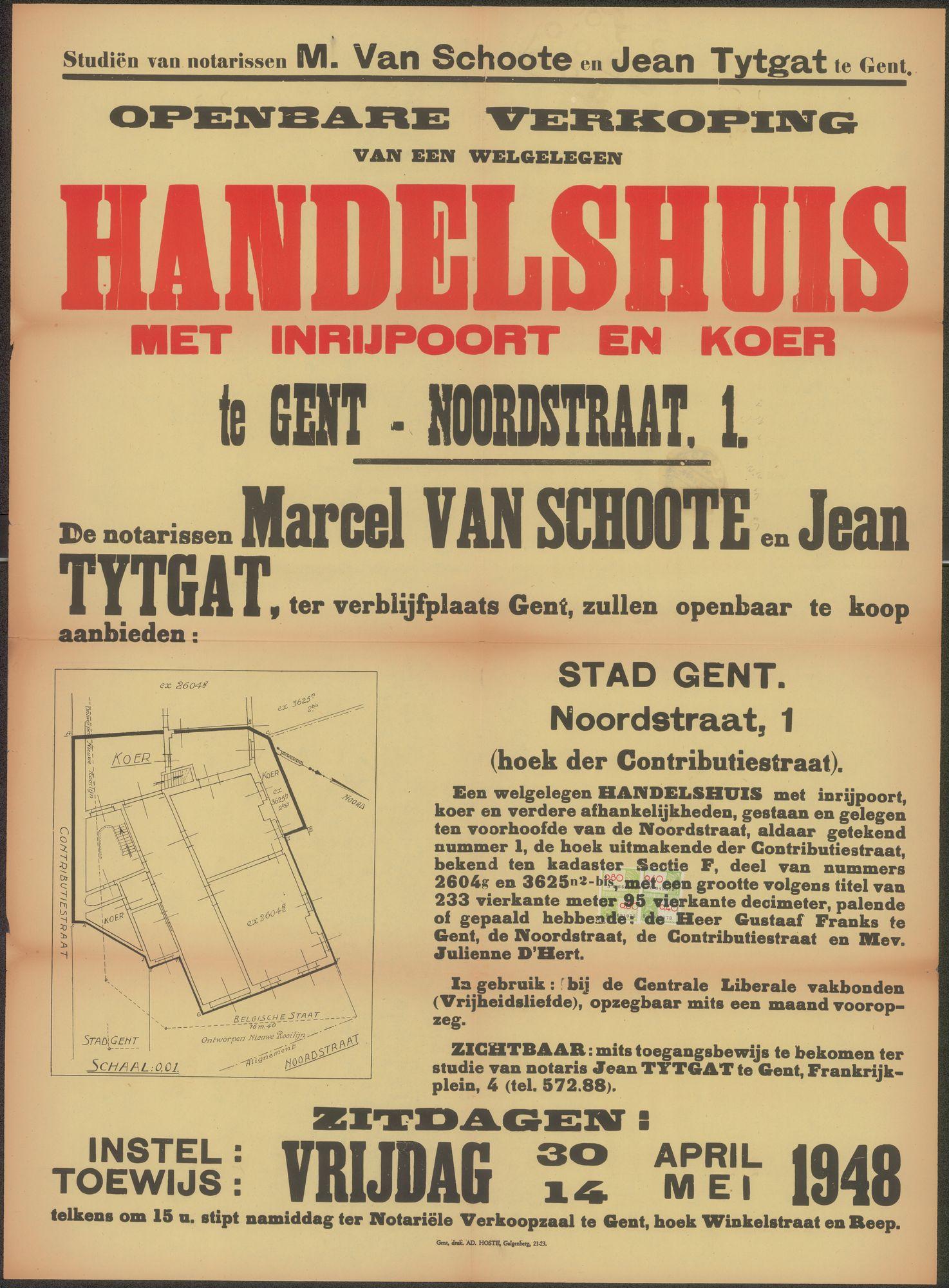 Openbare verkoop van een welgelegen handelshuis met inrijpoort en koer te Gent - Noordstraat, nr.1, Gent, 14 mei 1948