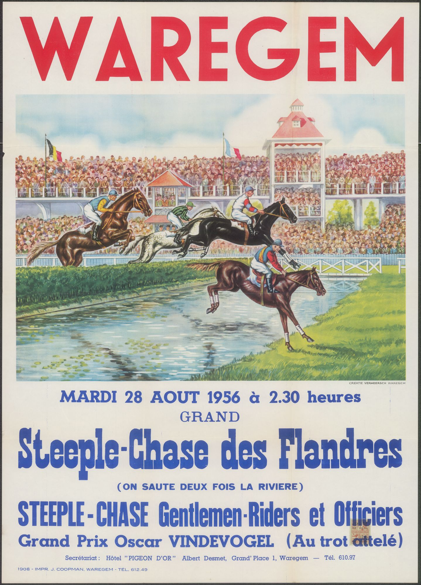 Waregem, Grand Steeple-Chase des Flandres, Steeple-Chase Gentlemen-Riders et Officiers, Grand Prix Oscar Vindevogel, mardi 28 aout 1956
