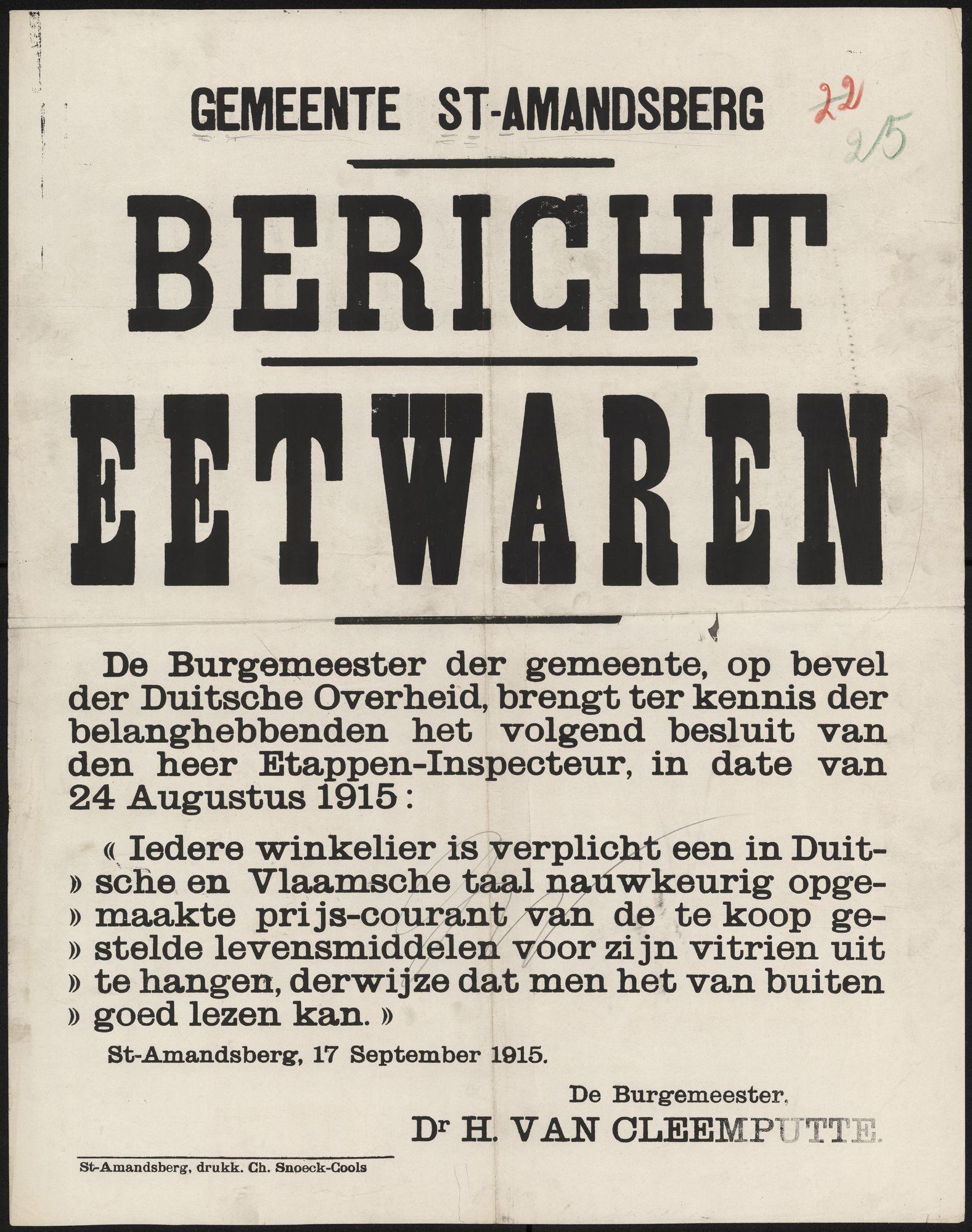 Gemeente St-Amandsberg, Bericht, Eetwaren.