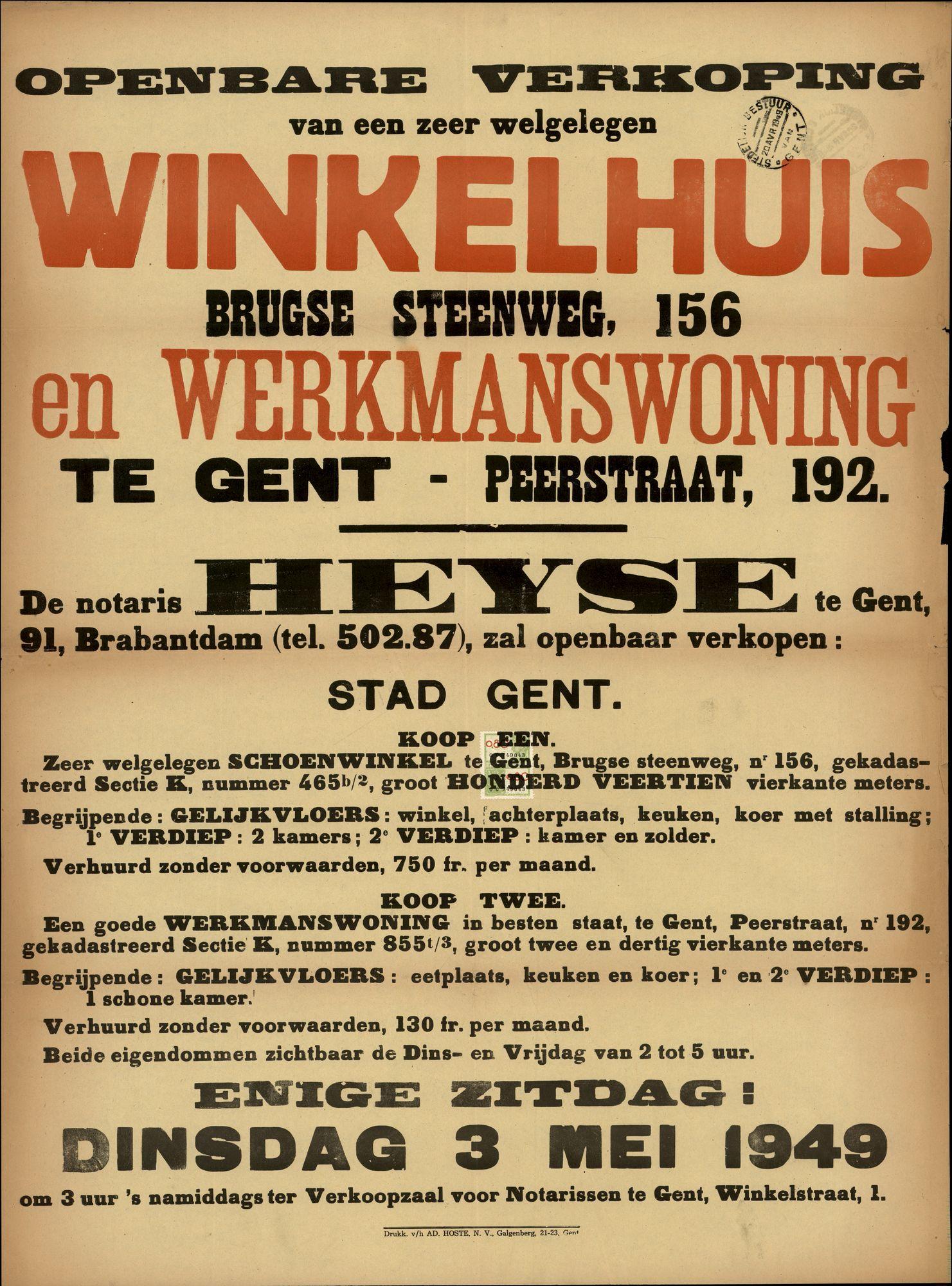 Openbare verkoop van een zeer welgelegen winkelhuis, Brugse Steenweg, nr.156 (Brugsesteenweg) en werkmanswoning te Gent, Peerstraat, nr.192, Gent, 3 mei 1949