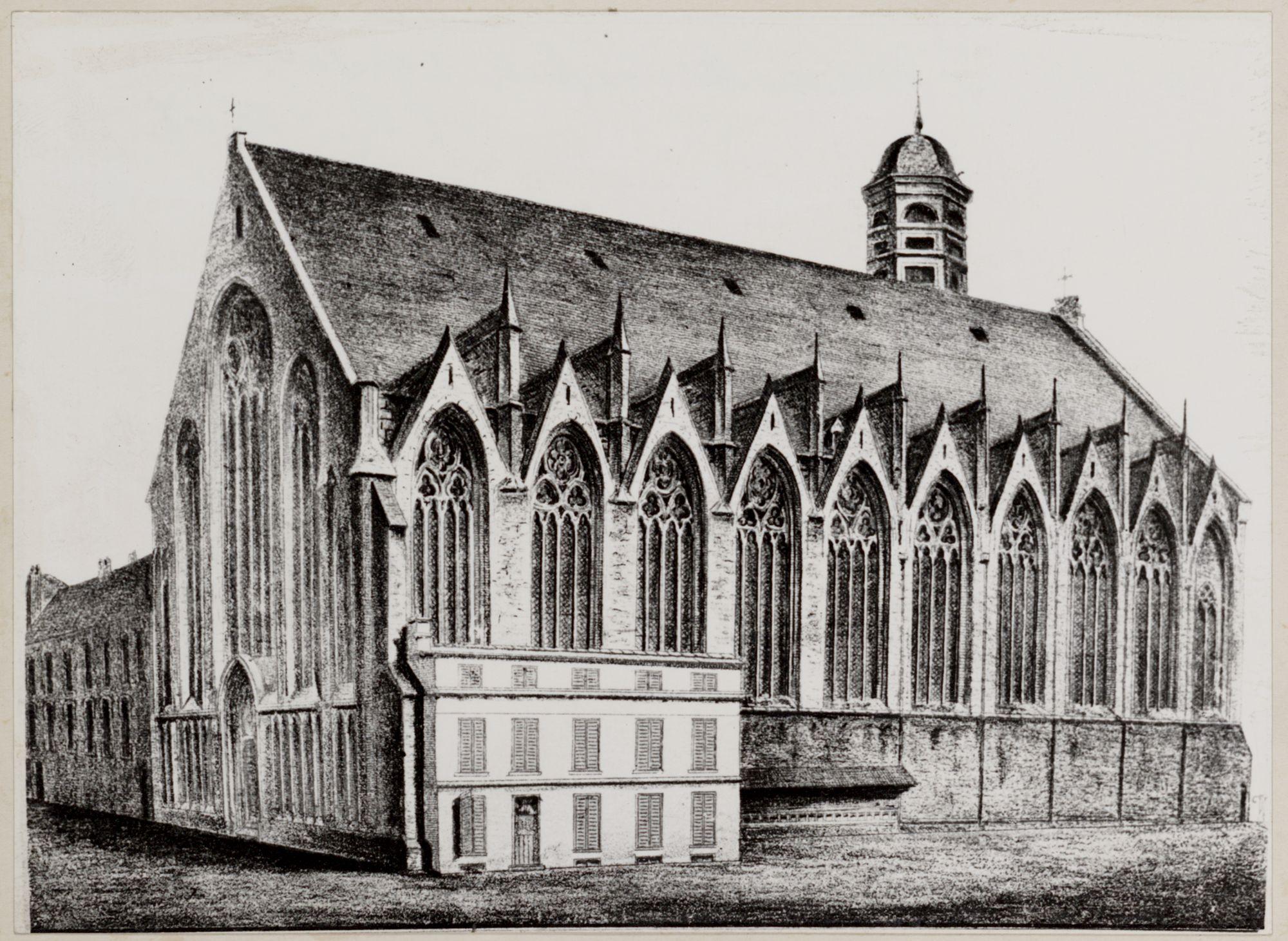 Gent: Tekening van de zijgevel van de kerk in Onderbergen