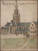 Gent: Sint-Pietersplein: de monnikenkerk van de Sint-Pietersabdij, gezien vanuit het noordwesten, voor 1580