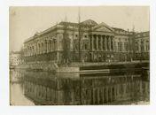 Gent: Koophandelsplein: Justitiepaleis: zuidwestzijde, aan de samenvloeiing van de Leie (links) en de Ketelvest, 1915-1916