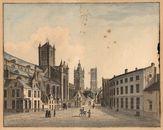 Gent: Kleine Korenmarkt (Cataloniëstraat) met zicht op de Torenrij: Sint-Niklaaskerk, Belfort, Sint-Baafskathedraal