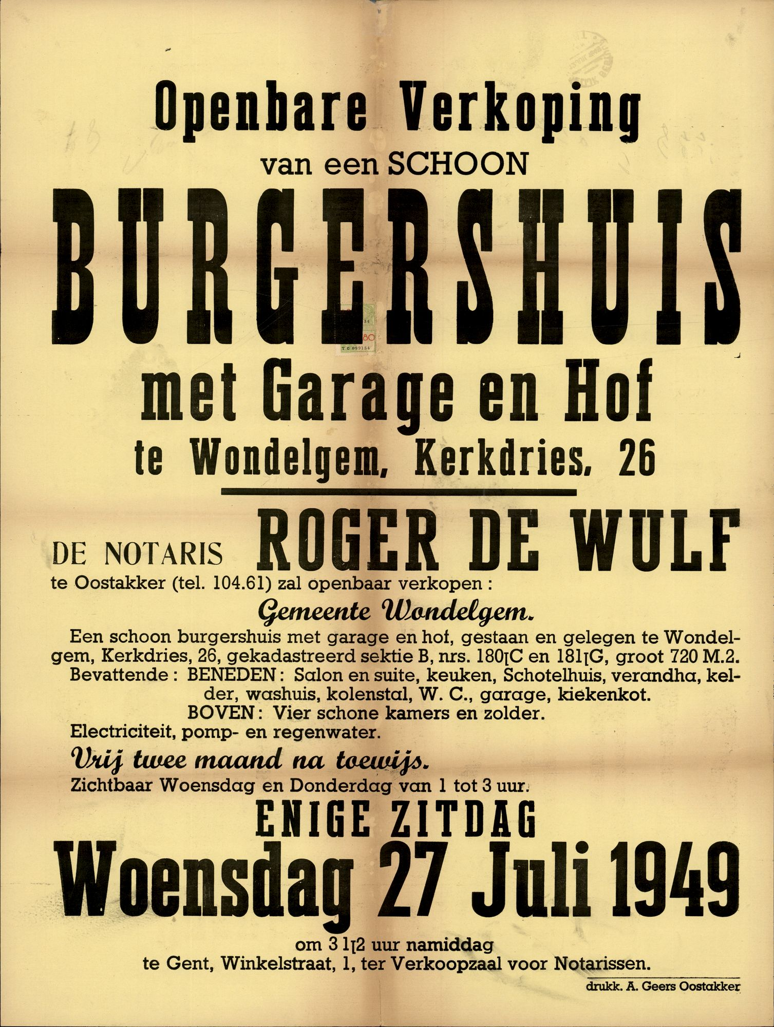 Openbare verkoop van een schoon burgershuis met garage en hof te Wondelgem, Kerkdries, nr.26, Gent, 27 juli 1949