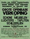 Grote openbare verkoop van Schone Meubelen - Luchters - Tapijten - Schilderijen ten huize te Gent, Koning Albertlaan, nr.101, 20 maart 1961