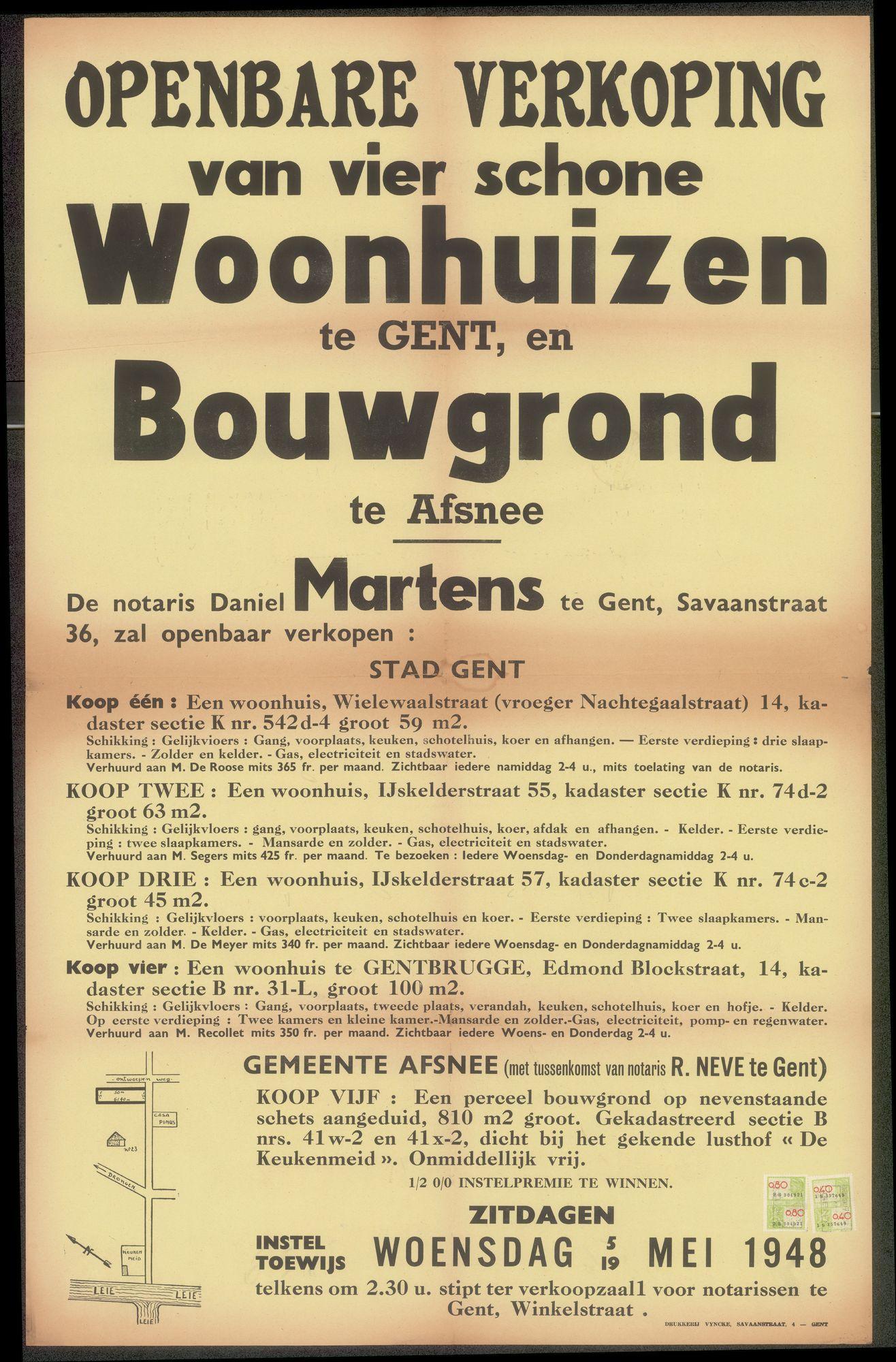 Openbare verkoop van vier schone woonhuizen te Gent, en bouwgrond te Afsnee, Gent, 5 en 19 mei 1948