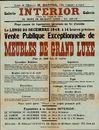 Vente publique exceptionelle de meubles de grand luxe, Galerie Interior, 42 Digue de Brabant, Gand, 20 decembre 1948