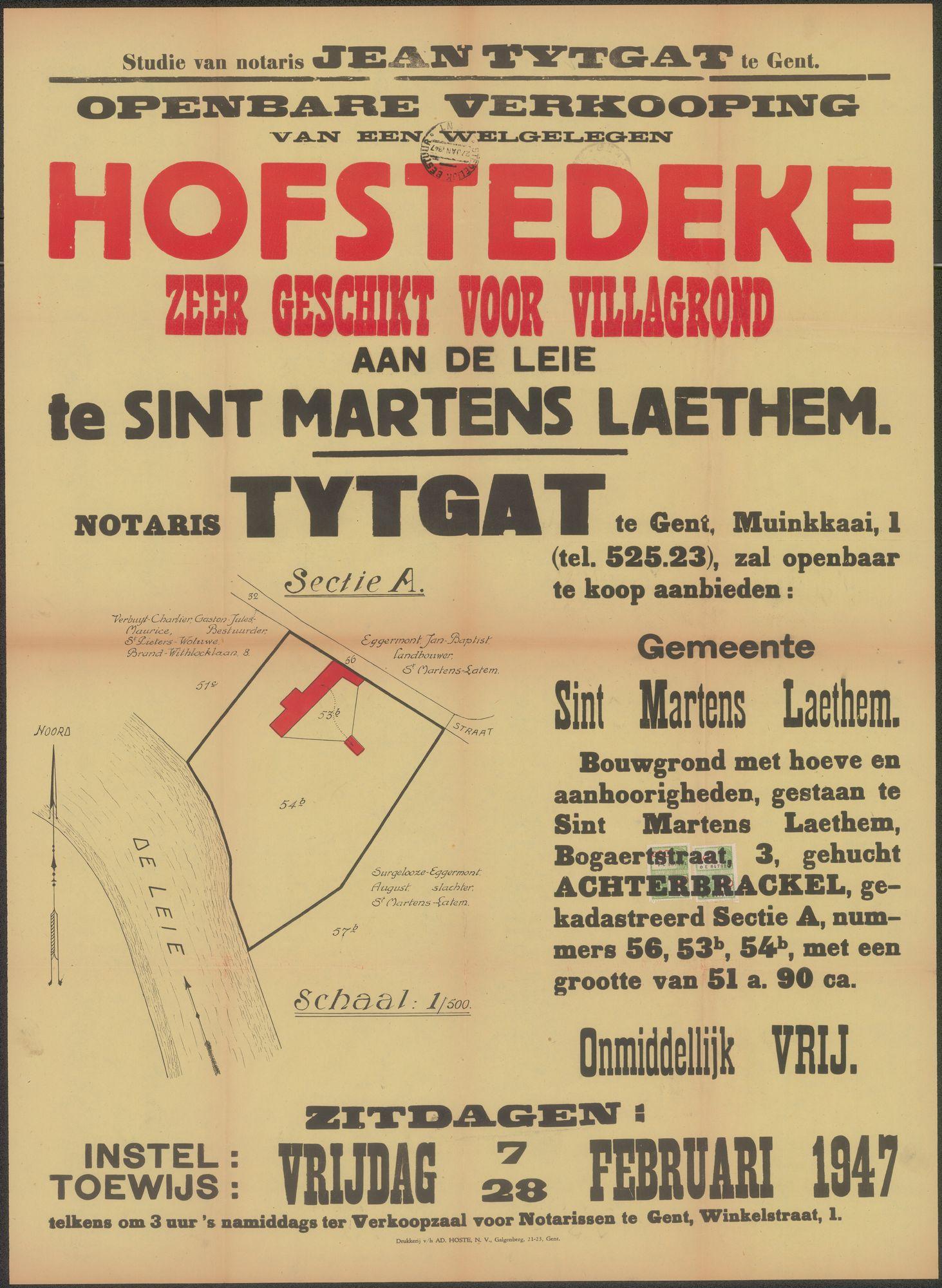 Openbare verkoop van een welgelegen hofstedeke zeer geschikt voor villagrond aan de Leie te Sint Martens Laethem (Sint-Martens-Latem), Gent, 28 februari 1947
