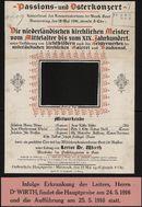 Passions- und Osterkonzert, Konzertsaal des Konservatoriums der Musik, Gent, Donnerstag, den 18 Mai 1916, abends 8 Uhr.