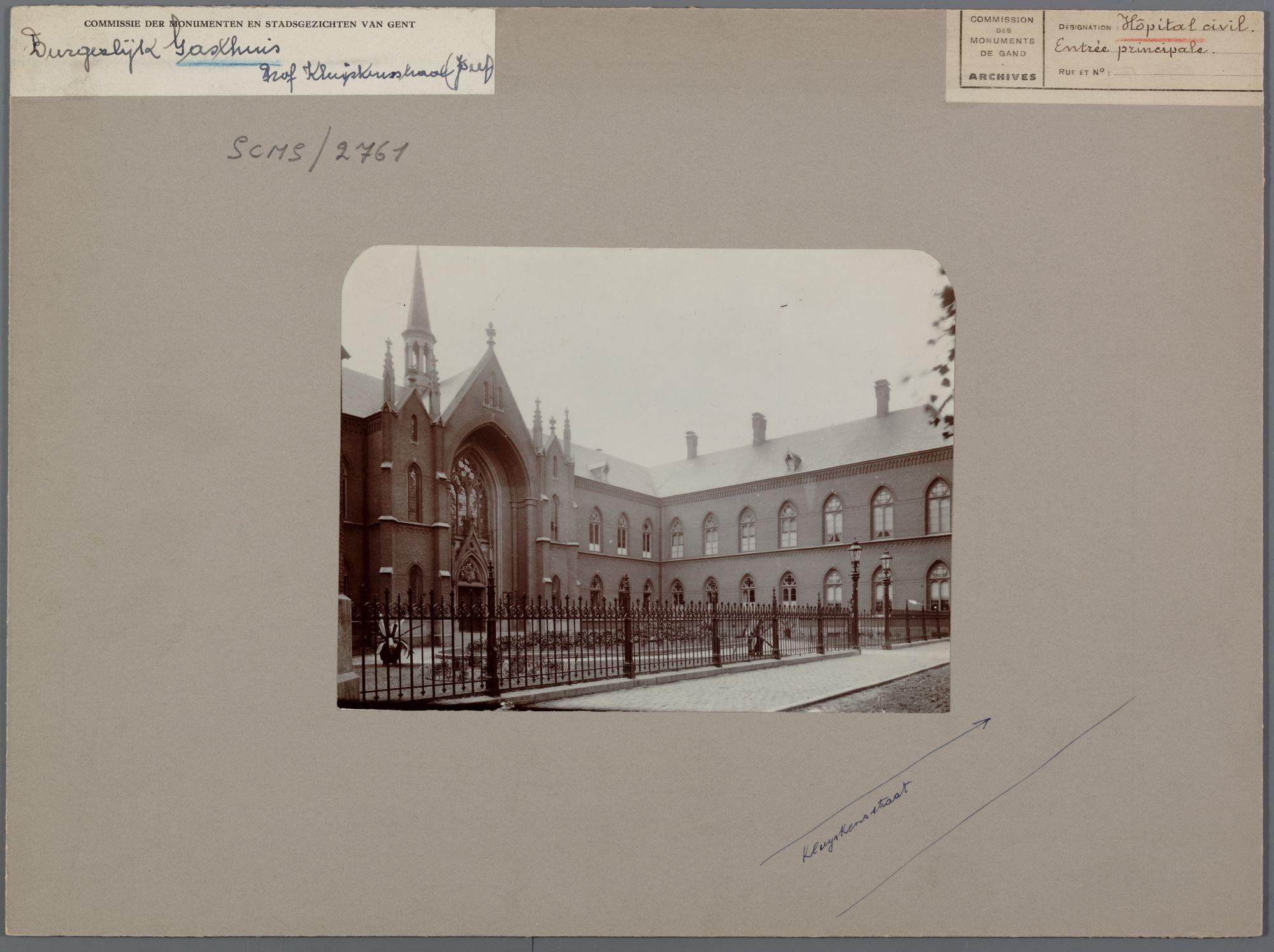 Gent: Jozef Kluyskensstraat. Bijloke Hospitaal