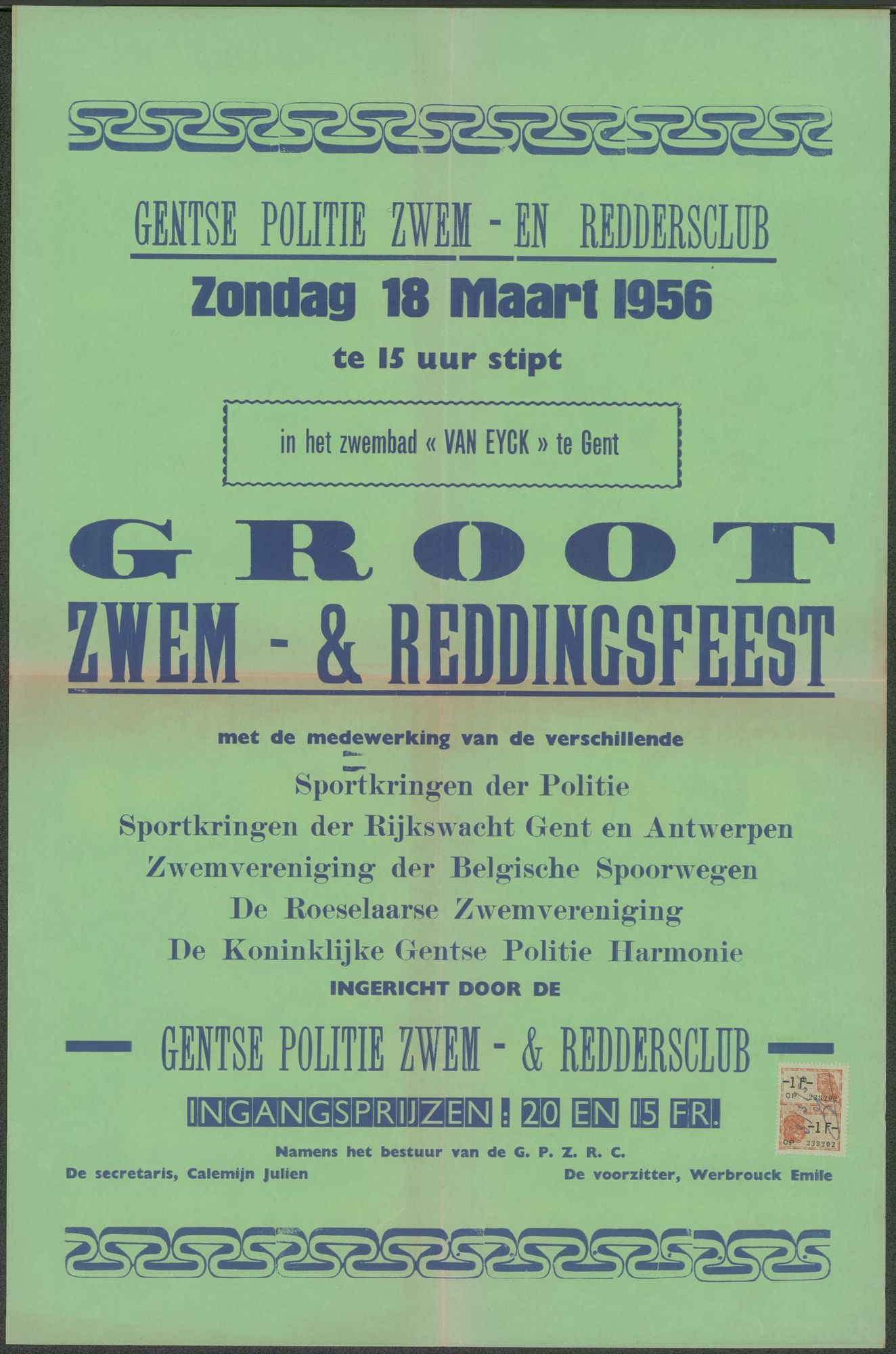 Groot Zwem- & Reddingsfeest, Gentse Politie Zwem - en Reddersclub, in het zwembad Van Eyck, Gent, zondag 18 maart 1956