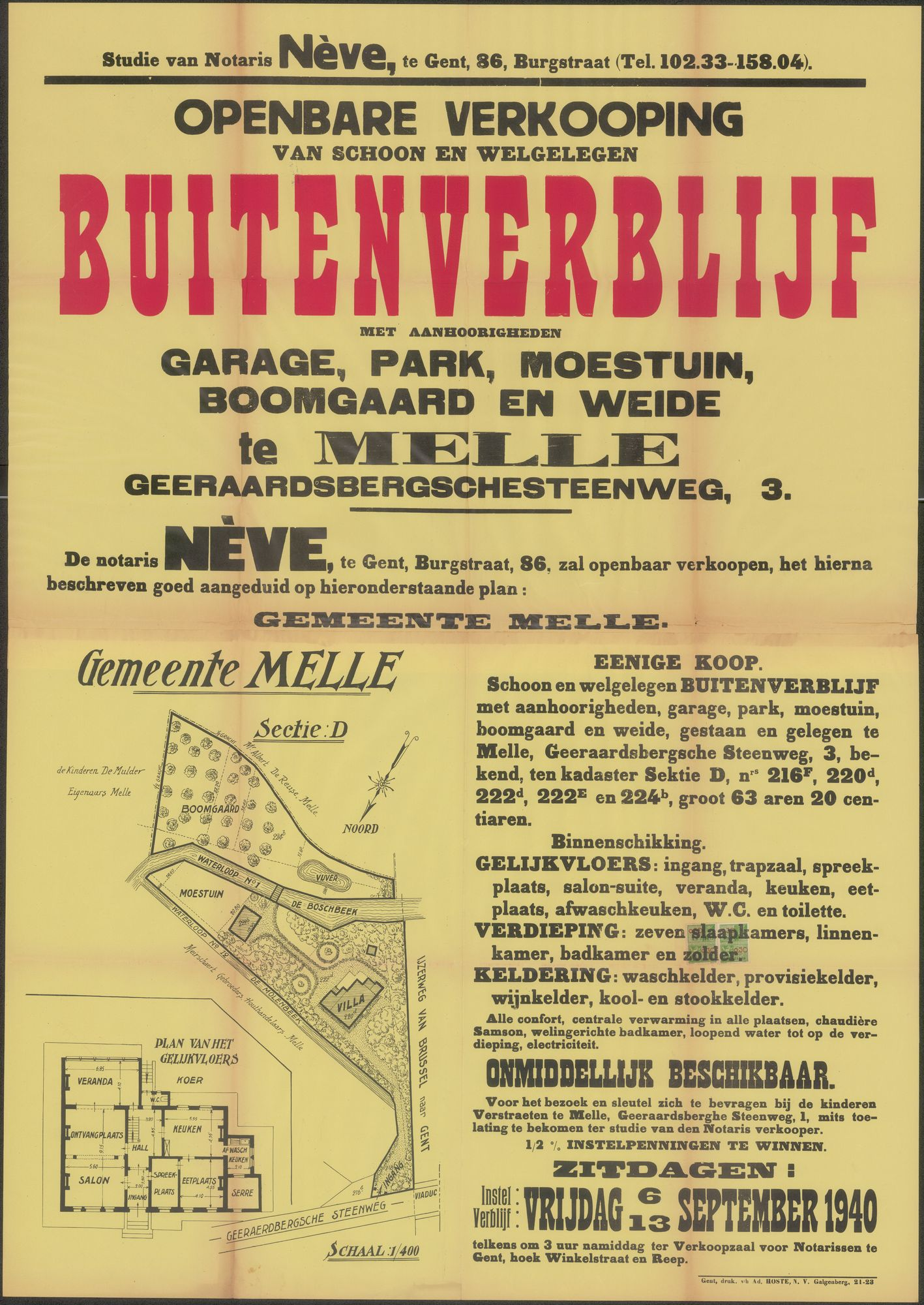 Openbare verkoop van schoon en welgelegen buitenverblijf met garage, park, moestuin, boomgaard en weide te Melle, Geeraardsbergschesteenweg (Geraardsbergsesteenweg), nr. 3, Gent, 13 september 1940
