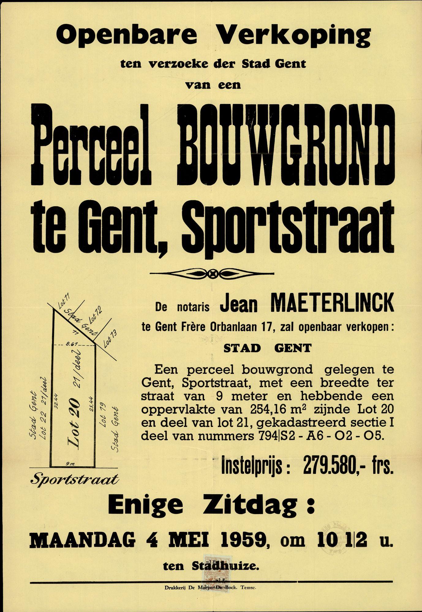 Openbare verkoop ten verzoeke der Stad Gent van een Perceel Bouwgrond te Gent, Sportstraat, Gent, 4 mei 1959