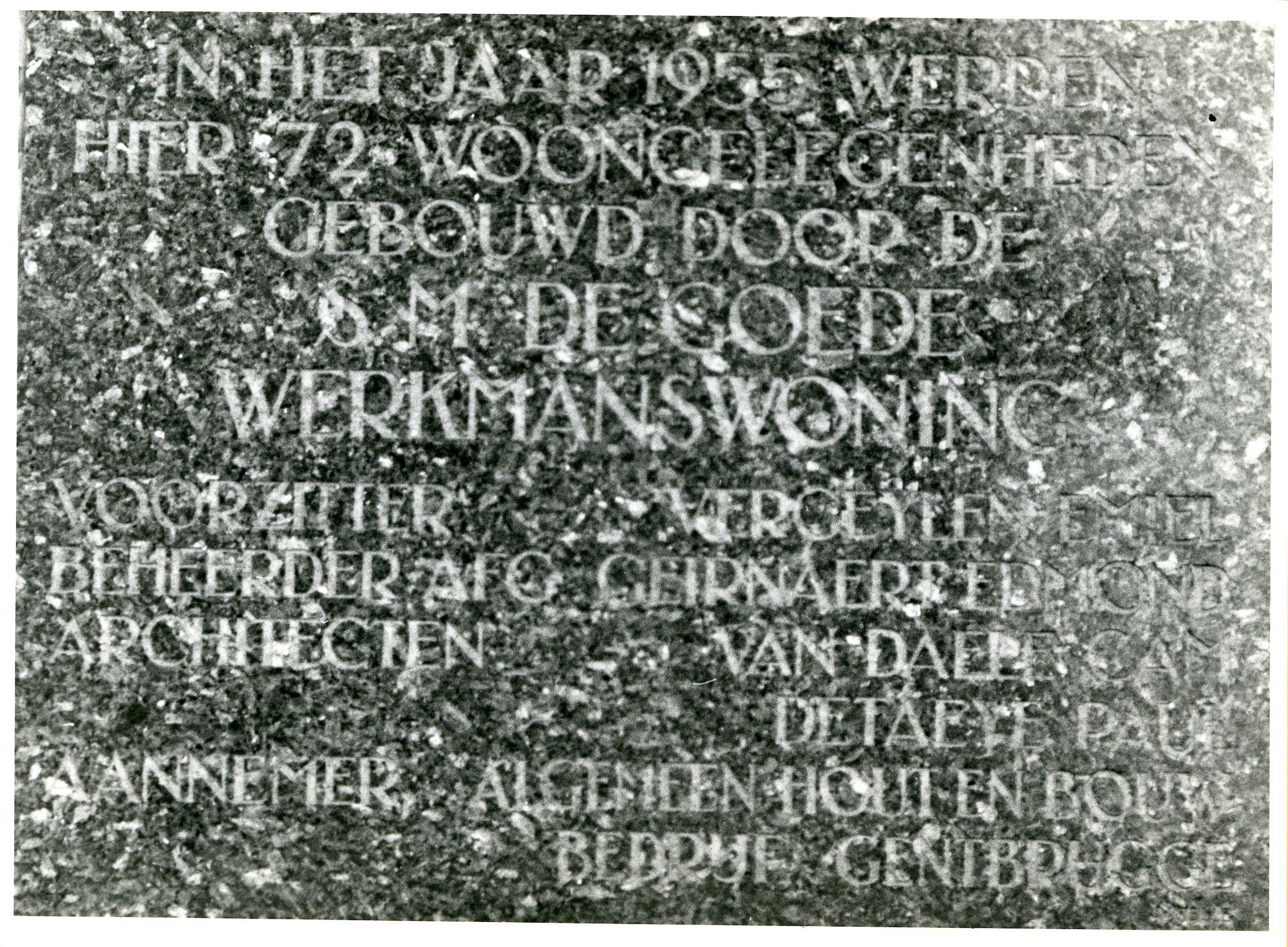 Gent: Noormanstraat 14-16: Gedenksteen, 1979