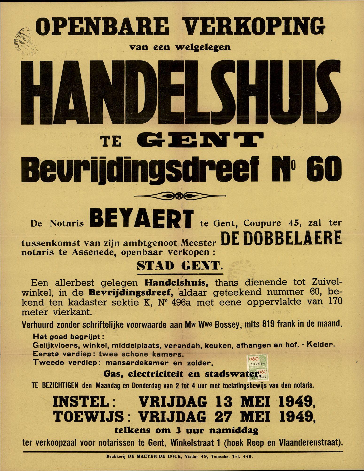 Openbare verkoop van een welgelegen handelshuis te Gent, Bevrijdingsdreef, nr.60, Gent, 27 mei 1949