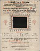 Geistliches Konzert, Dienstag, den 25. u. Mittwoch, den 26. Juli 1916, abends 8 Uhr, im Konzertsaale des Städtischen Konservatoriums der Musik, Gent, Hoogpoort, 54.