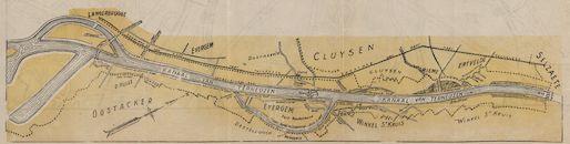Kaart van de haven van Gent, c.1950