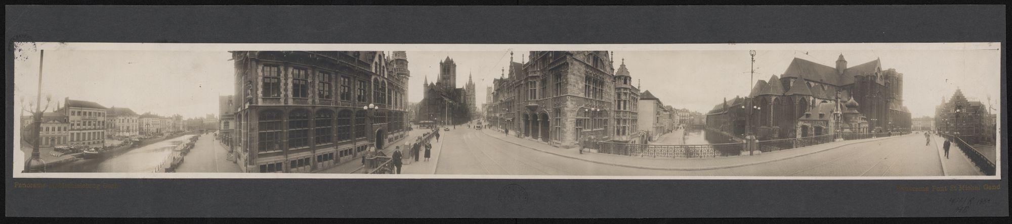 Gent: Panoramafoto Sint-Michielsbrug met: Korenlei en Graslei, Postgebouw, Sint-Michielshelling, Torens van Sint-Niklaaskerk, Belfort en Sint-Baafs, Predikherenlei, Pand, Sint-Michielsbrug en Sint-Michielskek
