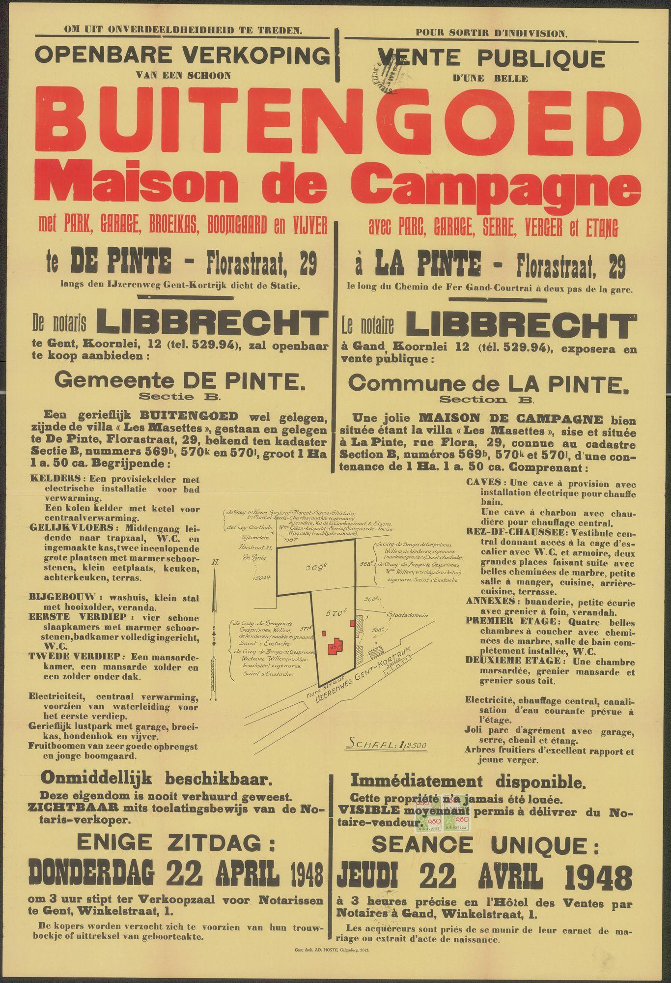 Openbare verkoop van een schoon Buitengoed met park, garage, broeikas, boomgaard en vijver te De Pinte - Florastraat, nr. 29 langs den IJzerenweg Gent-Kortrijk dichtbij het station, Gent, 22 april 1948
