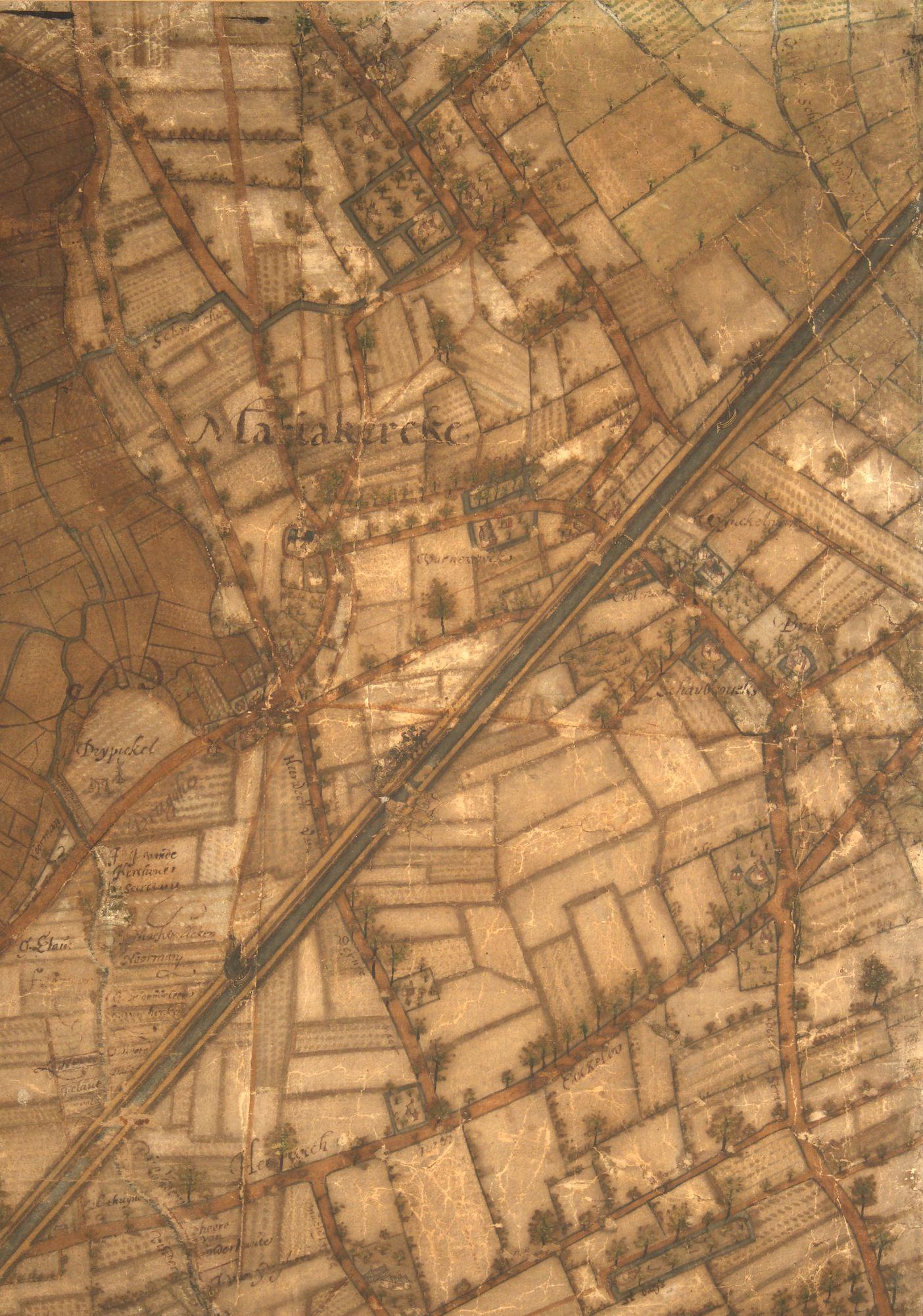 Mariakerke en de Brugse Vaart: kaartdeel 01 (V) van de Kaart van Gent en het Vrije van Gent afgebakend door de Rietgracht, Jacques Horenbault, 1619