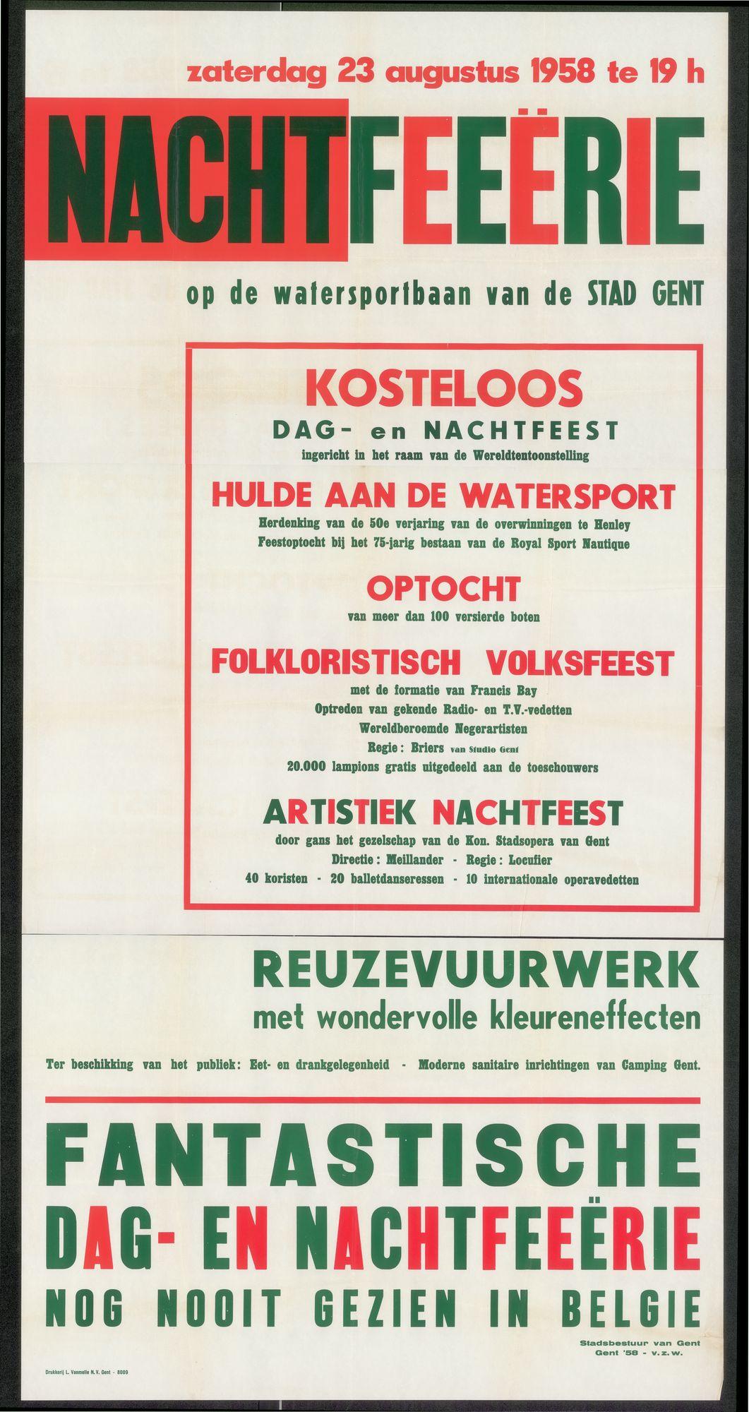 Nachtfeeërie op de Watersportbaan van de Stad Gent, 23 augustus 1958