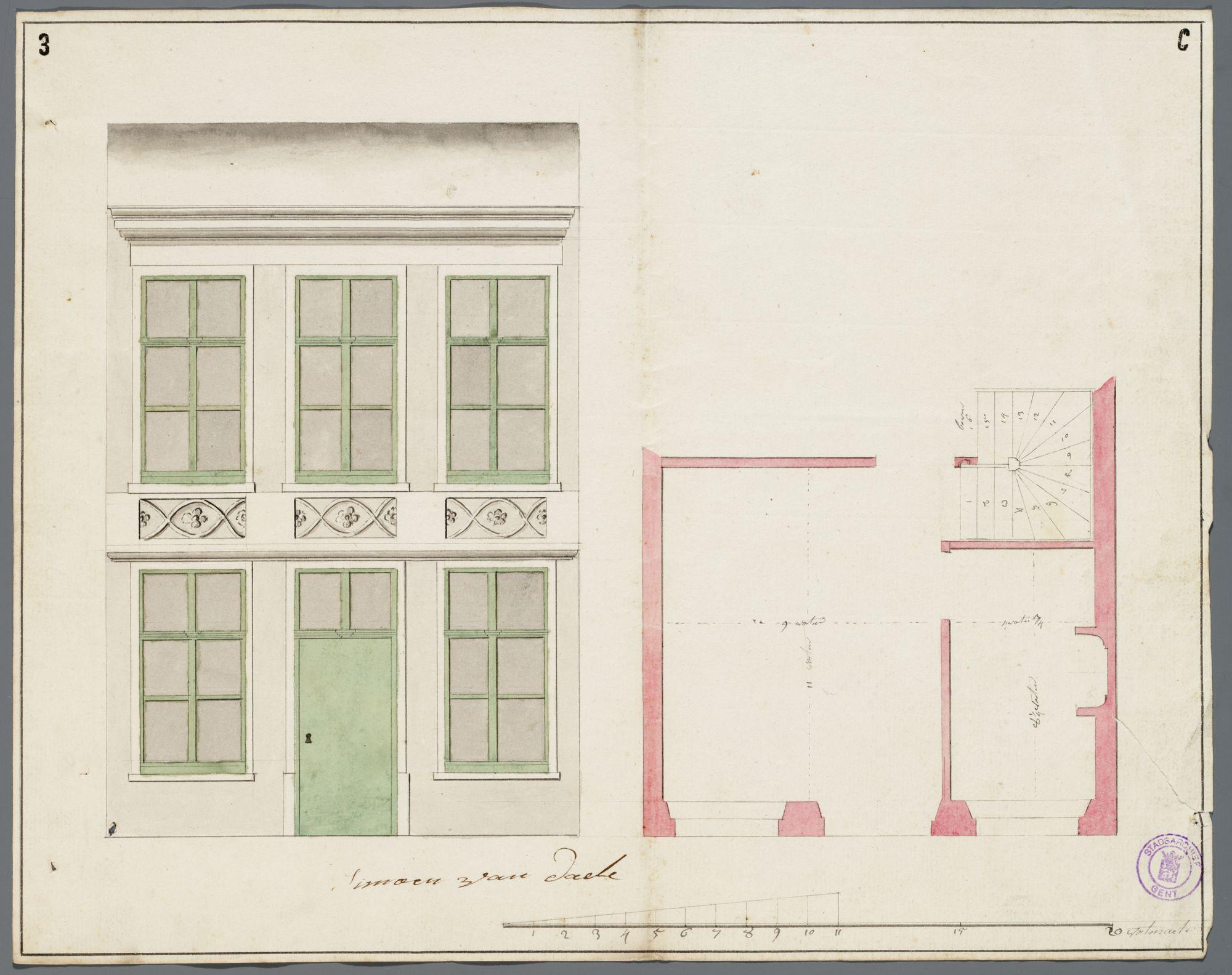 Gent: Meulegat (verdwenen en vervangen door het Casinoplein), 1785: opstand gevel