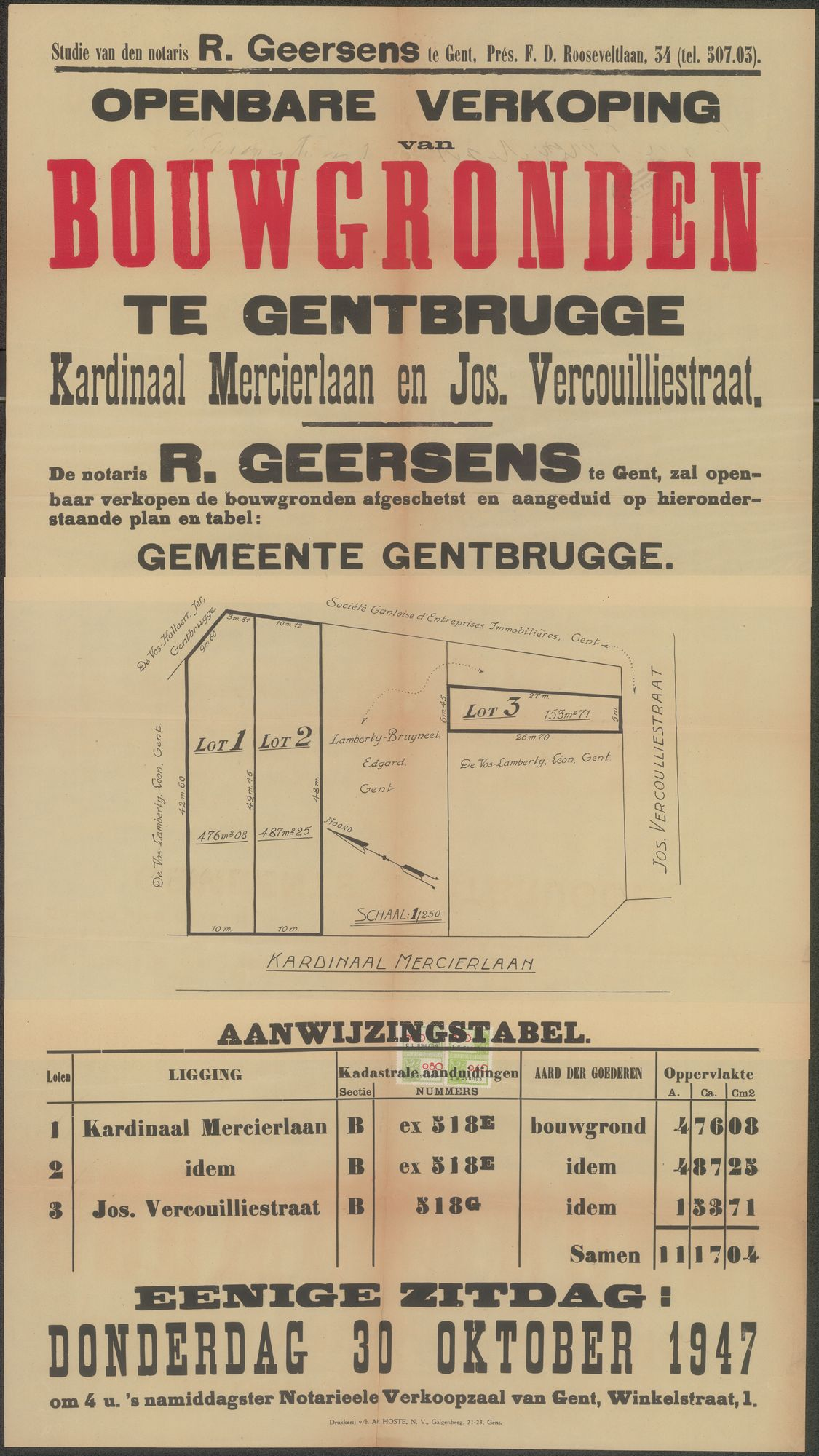 Openbare verkoop van bouwgronden te Gentbrugge, Kardinaal Mercierlaan en Jos. Vercouilliestraat, Gent, 30 oktober 1947