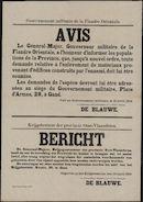 Gouvernement militaire de la Flandre Orientale, Avis | Krijgsbestuur der provincie Oost-Vlaanderen, Bericht