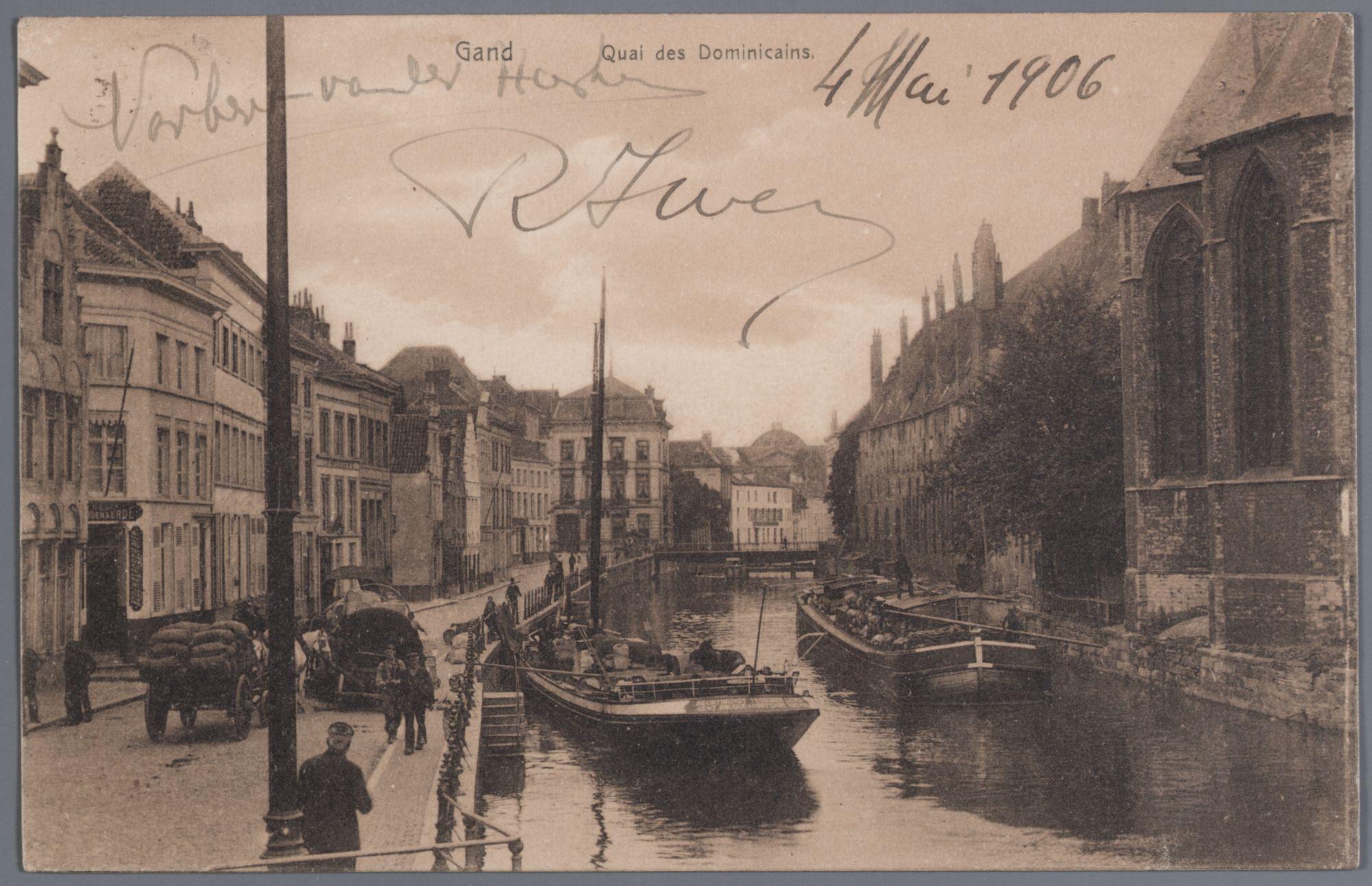 Gent: Predikherenlei: boten op de Leie, karren op straat, voor 4 mei 1906