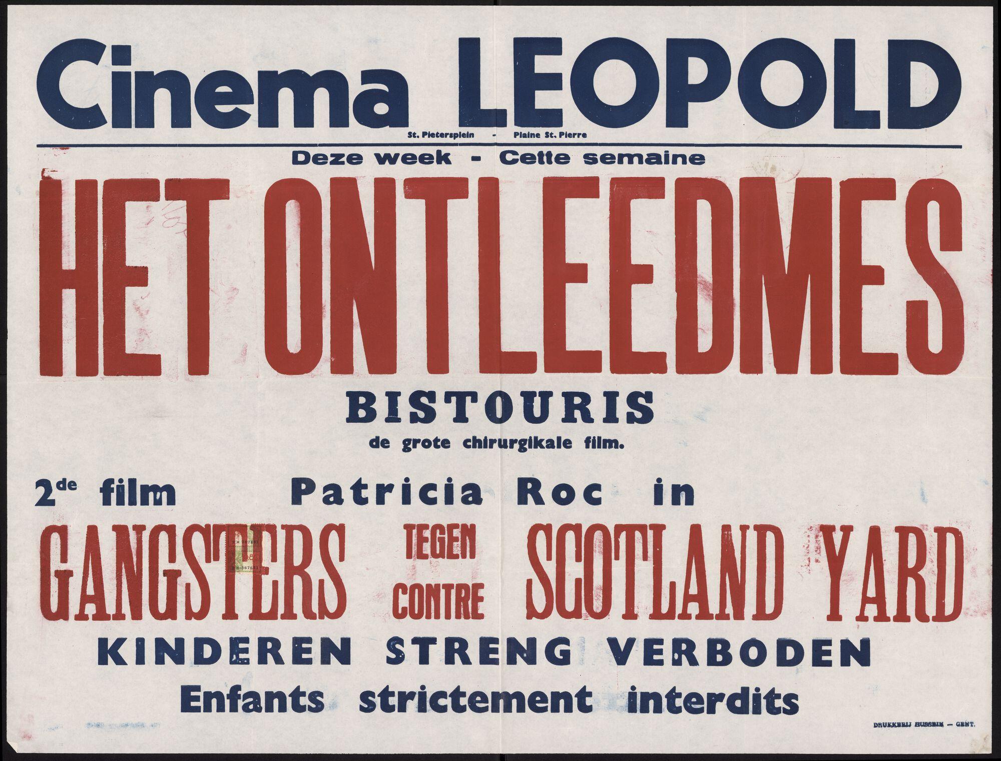 Het ontleedmes (film 1), Gangsters tegen Scotland Yard (film 2), Cinema Leopold, Gent, november 1948