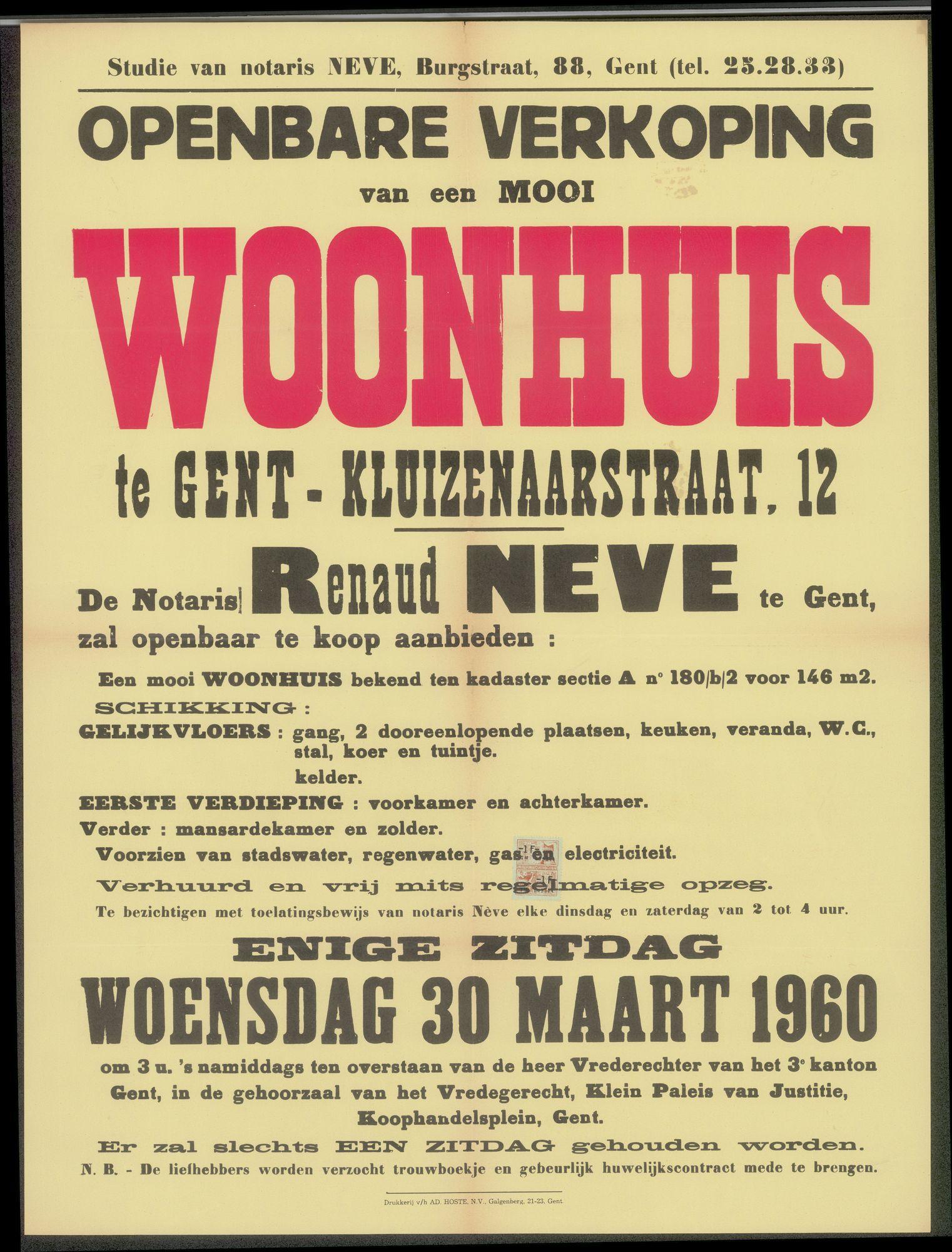 Openbare verkoop van een mooi woonhuis te Gent - Kluizenaarstraat, nr.12, Gent, 30 maart 1960