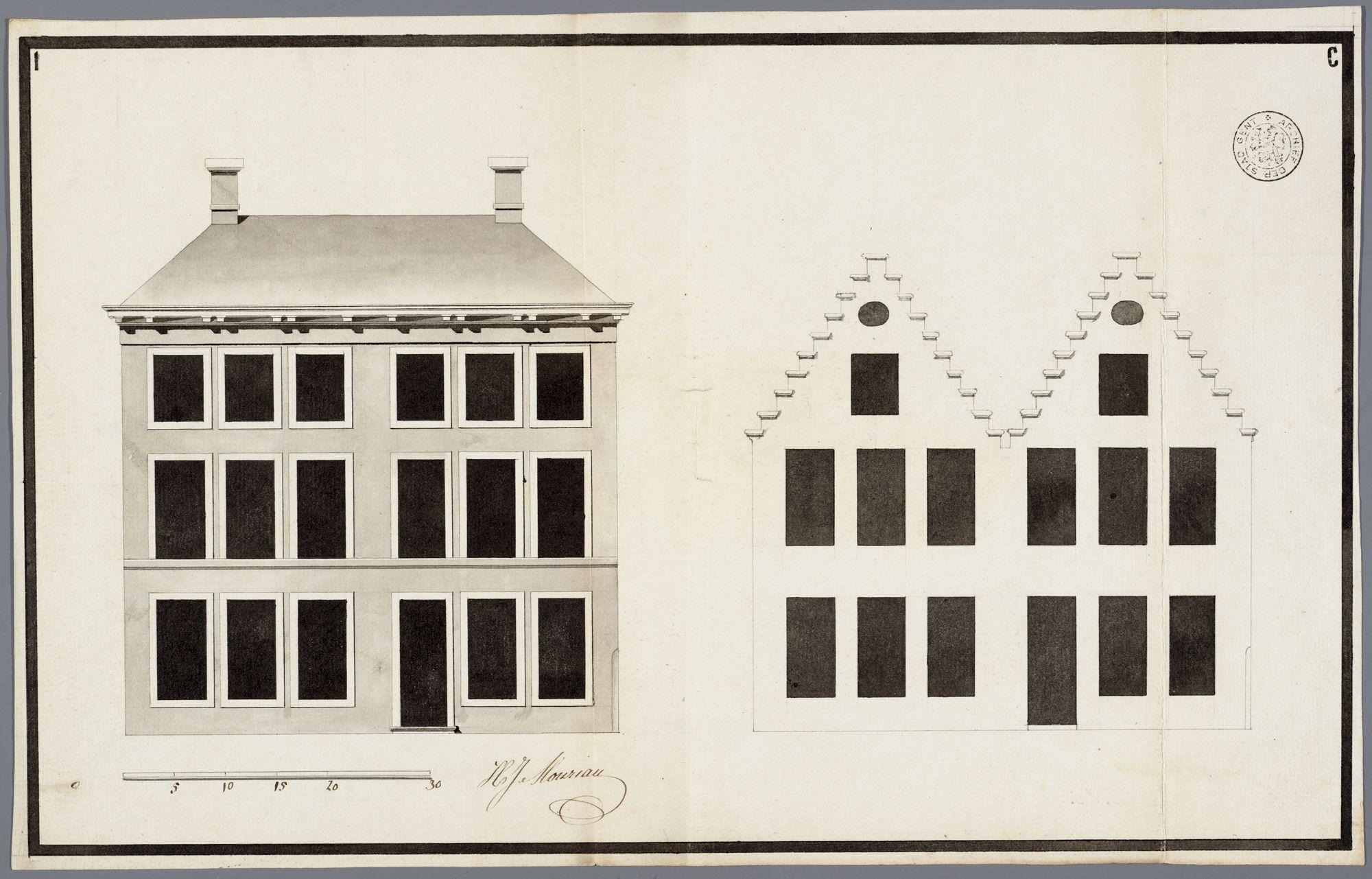 Gent: Bij Sint-Joris op het Zand (Lange Violettestraat), 1794: opstand voorgevel: oude en nieuwe toestand