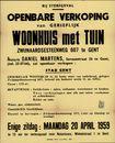Openbare verkoop van gerieflijk woonhuis met tuin, Zwijnaardsesteenweg, nr.607 te Gent, 20 april 1959