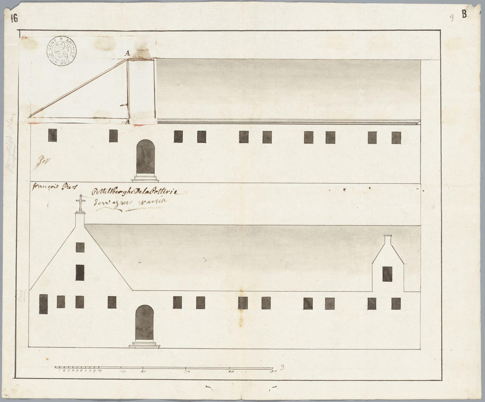 Gent: Kraanlei, 1787: opstand gevel