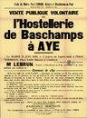 Vente publique volontaire de l'Hostellerie de Baschamps à Aye, Charleroi, 21 juin 1949