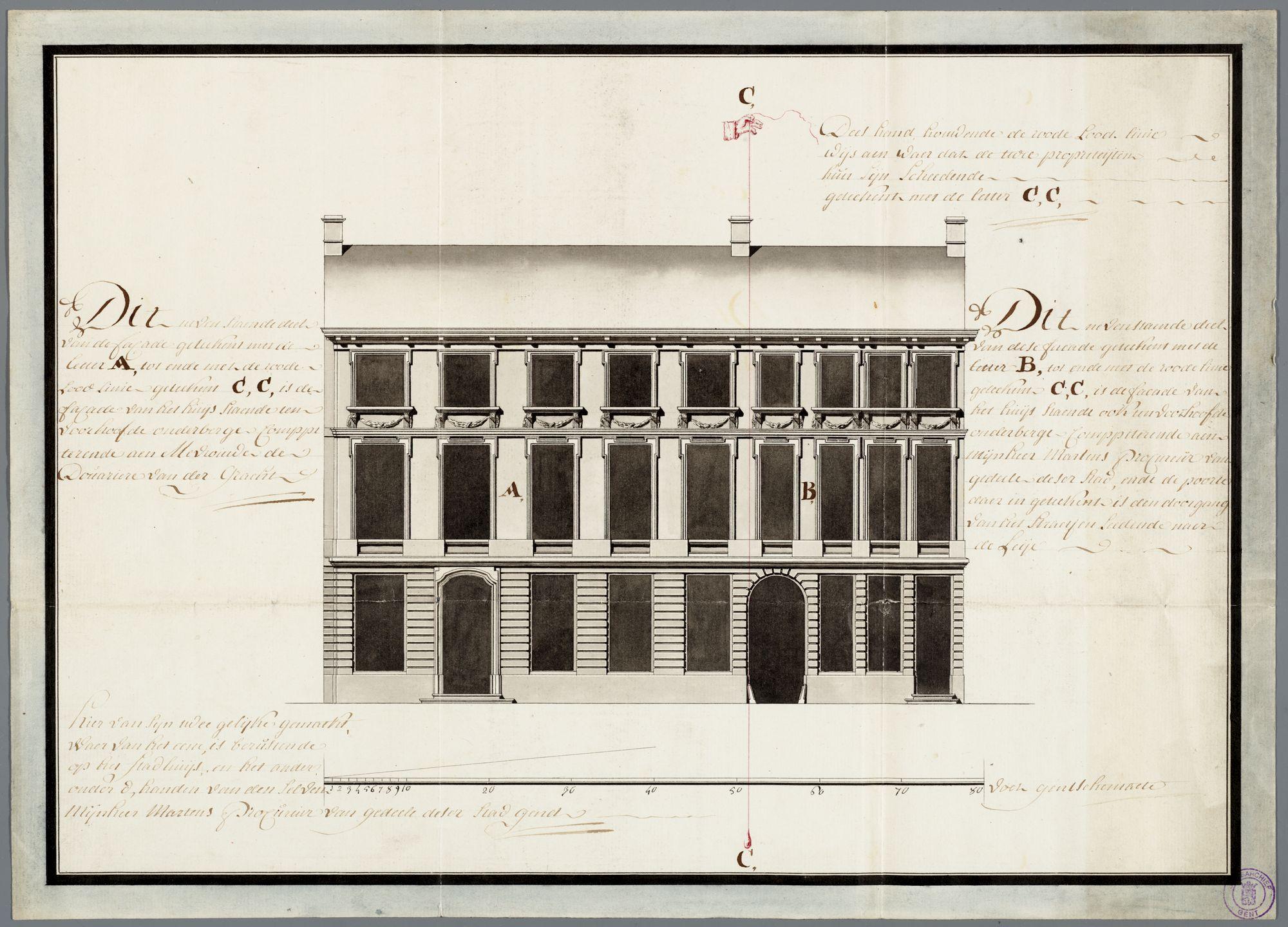 Gent: Onderbergen, 1779: opstand gevel