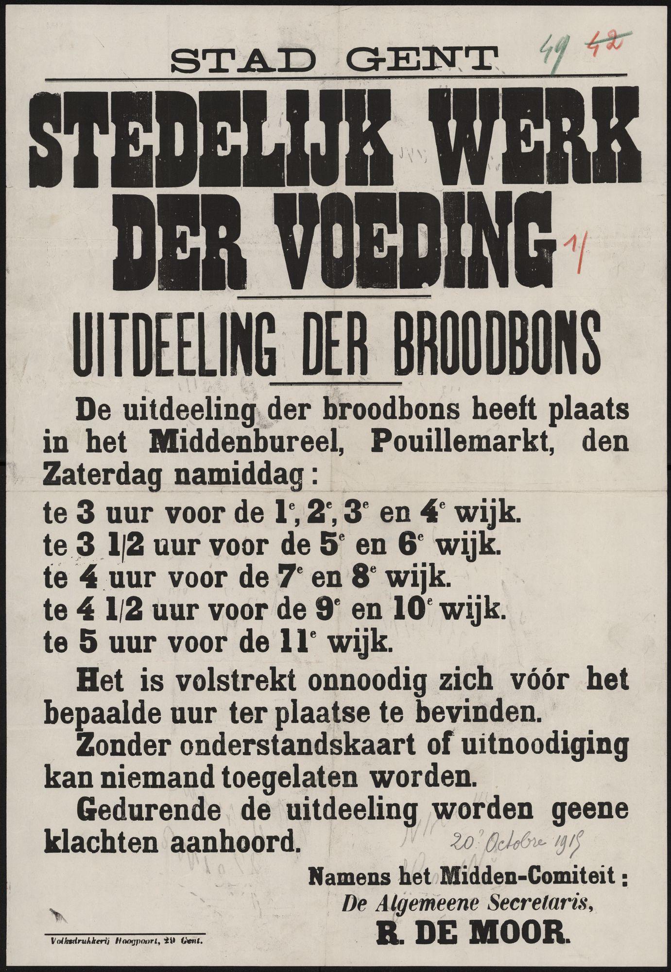 Stad Gent, Stedelijk werk der voeding, Uitdeeling der broodbons.